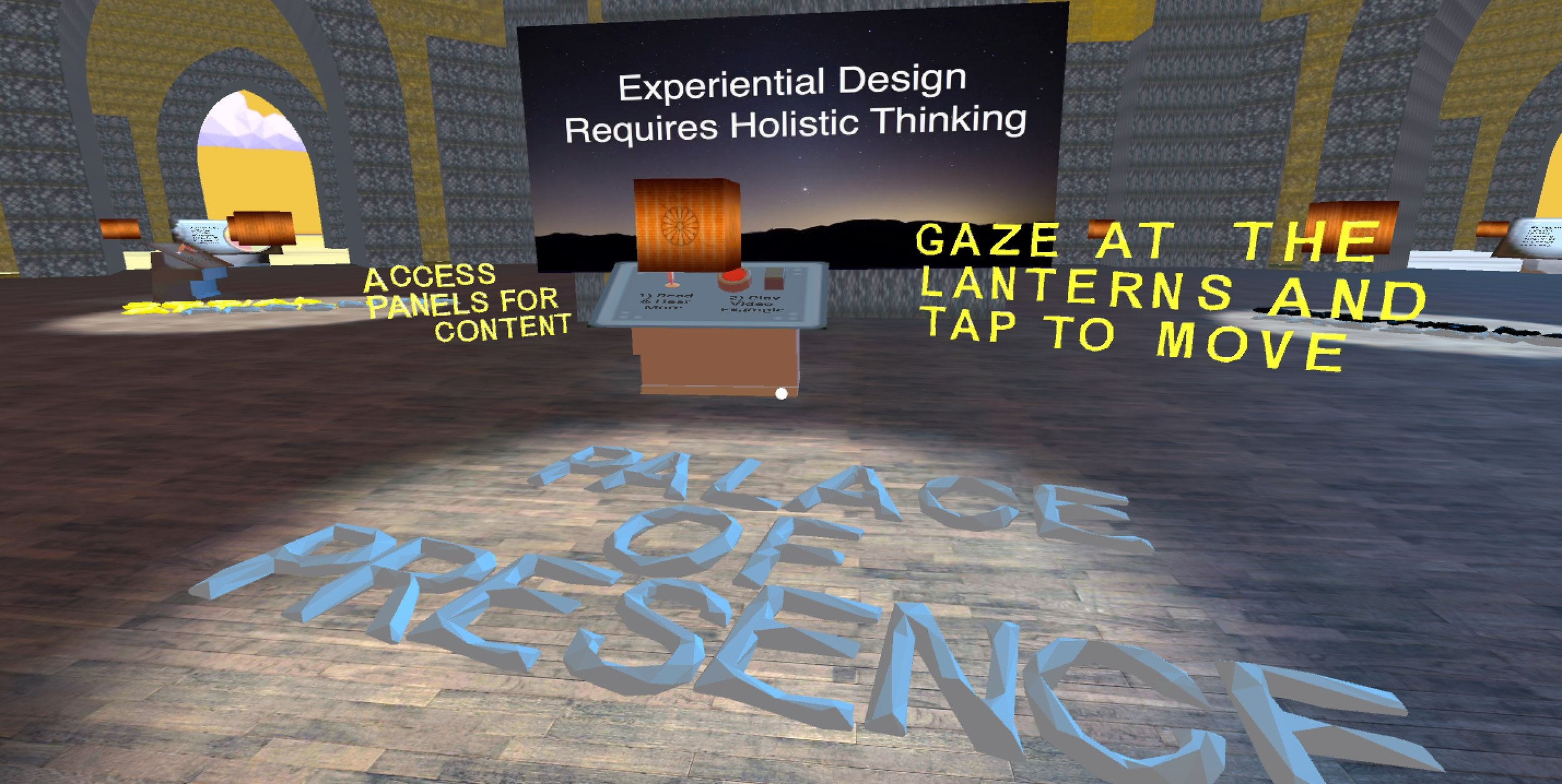 Palace of Presence is the practical application of my research into design principles for presence in VR. Read more at  my blog at Medium . Video of early mobile prototype:  https://www.youtube.com/watch?v=VIpQ590NQdY