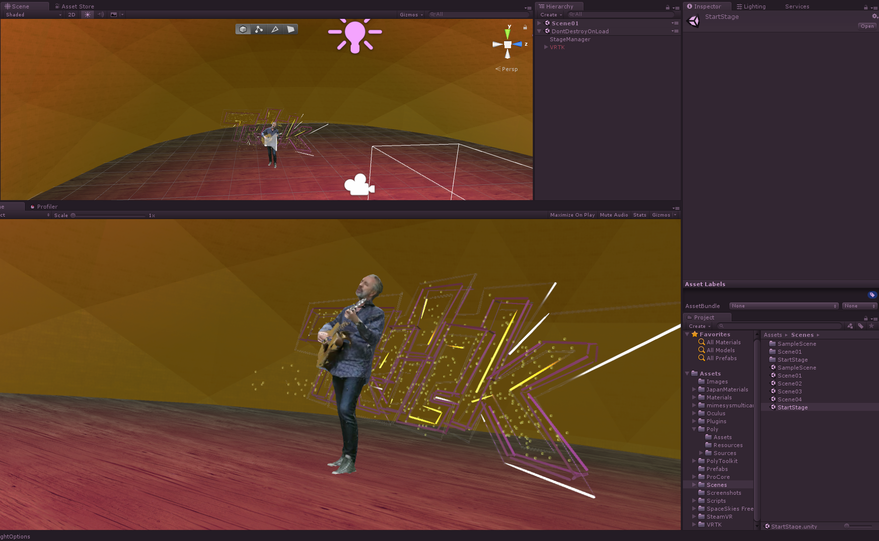 During July 2018, I participated in the Arts Council funded Megaverse XR Theatre Lab in Sheffield. I helped the project by building a virtual stage system for Unity, where mixed reality content was combined with participants in VR for experimenting with forms of new virtual theatre:  https://megaverse.blog/