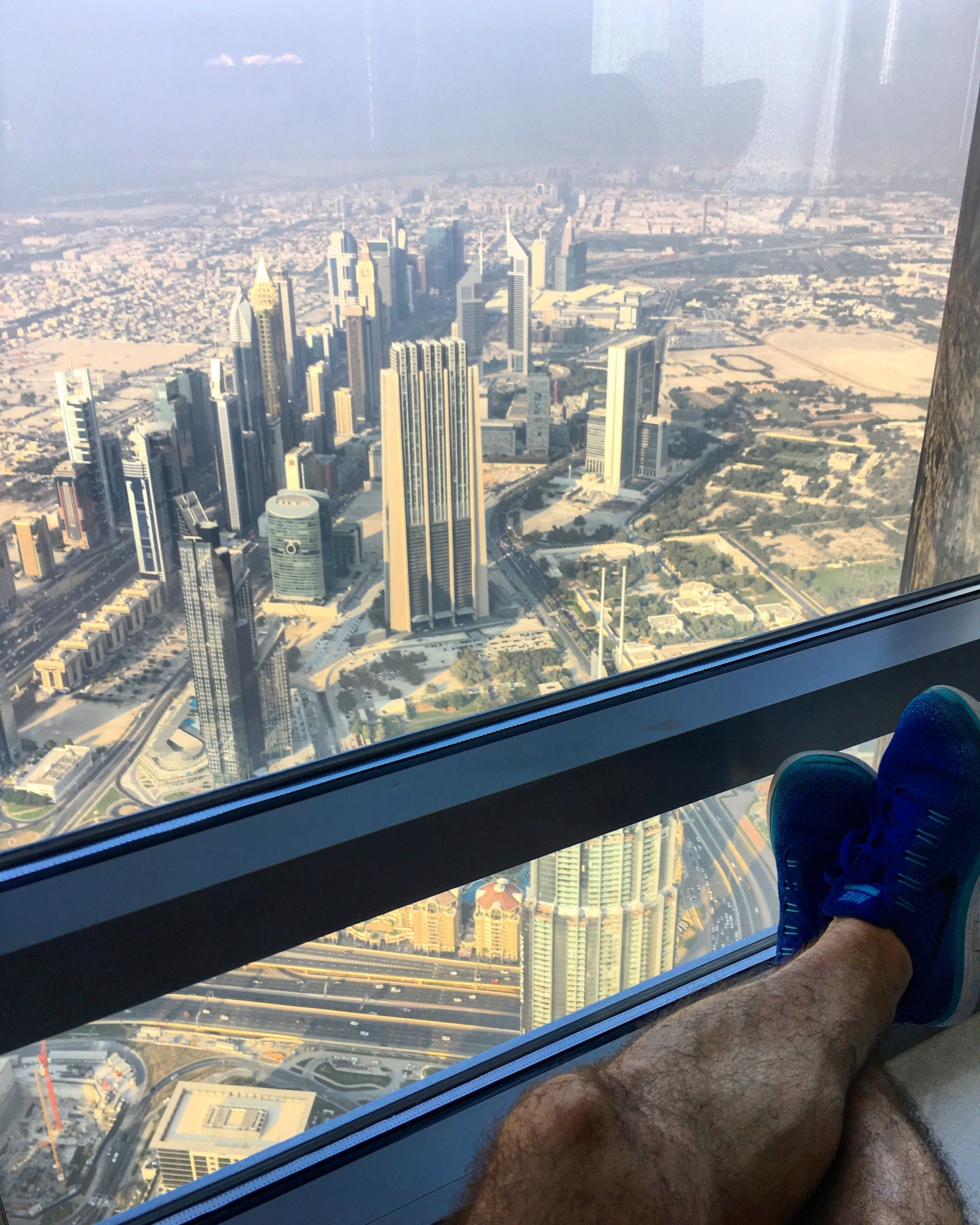 Enjoying the view from the 148th floor of the  Burj Khalifa .
