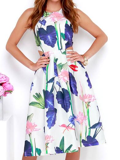 Lulu's Large Floral Cut Out Dress