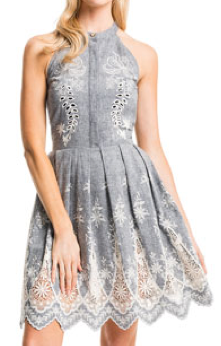 Chambray and Lace Halter Dress