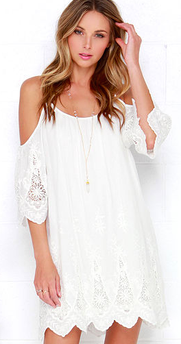 Lulu's White Lace Off the Shoulder Dress