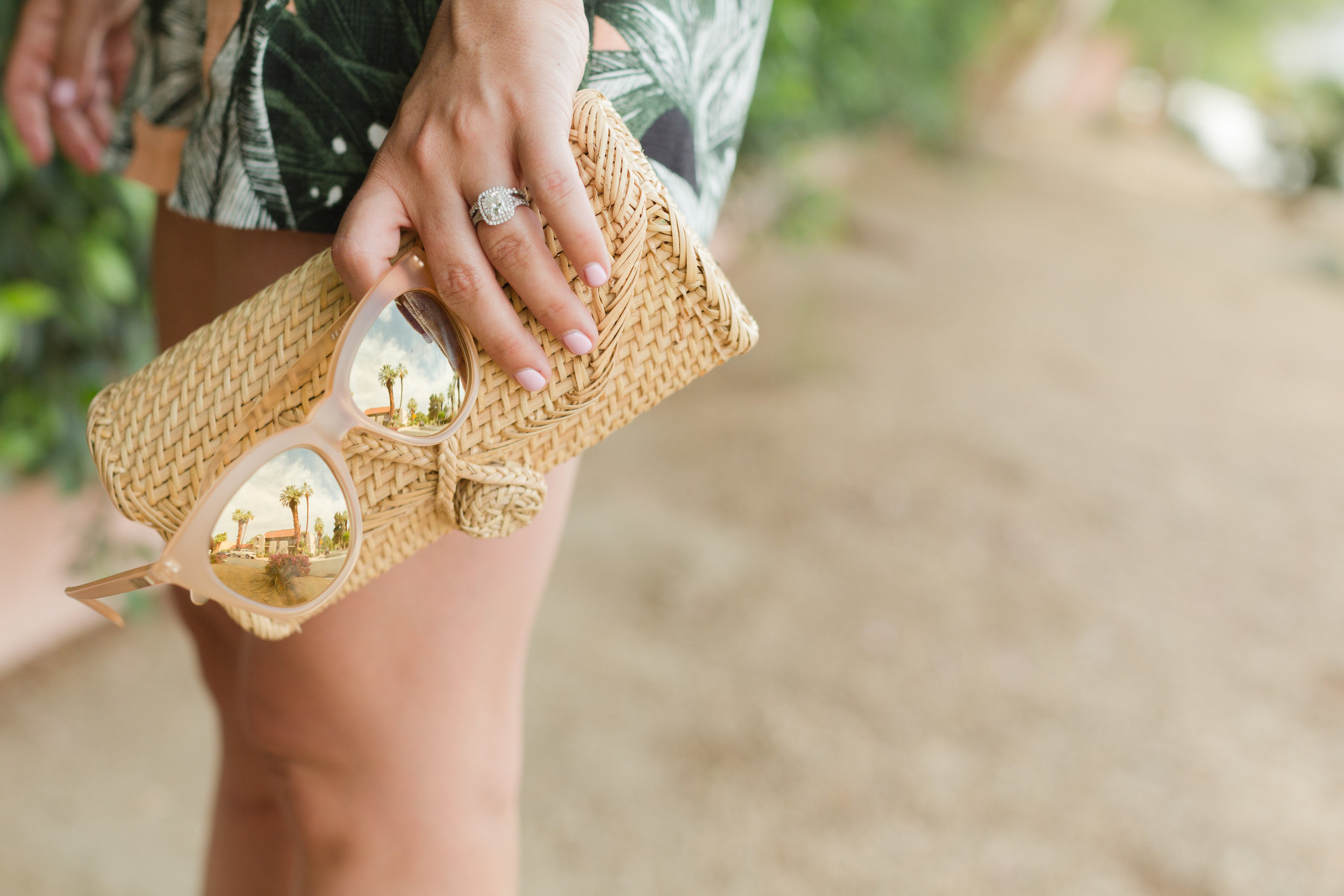 Wicker clutch and pink sunnies
