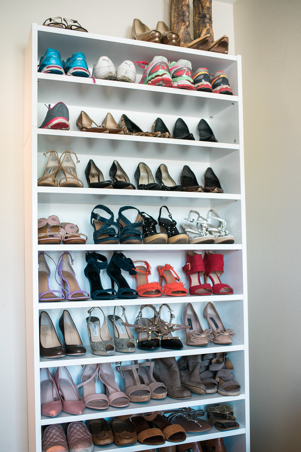 Master bedroom shoe organization