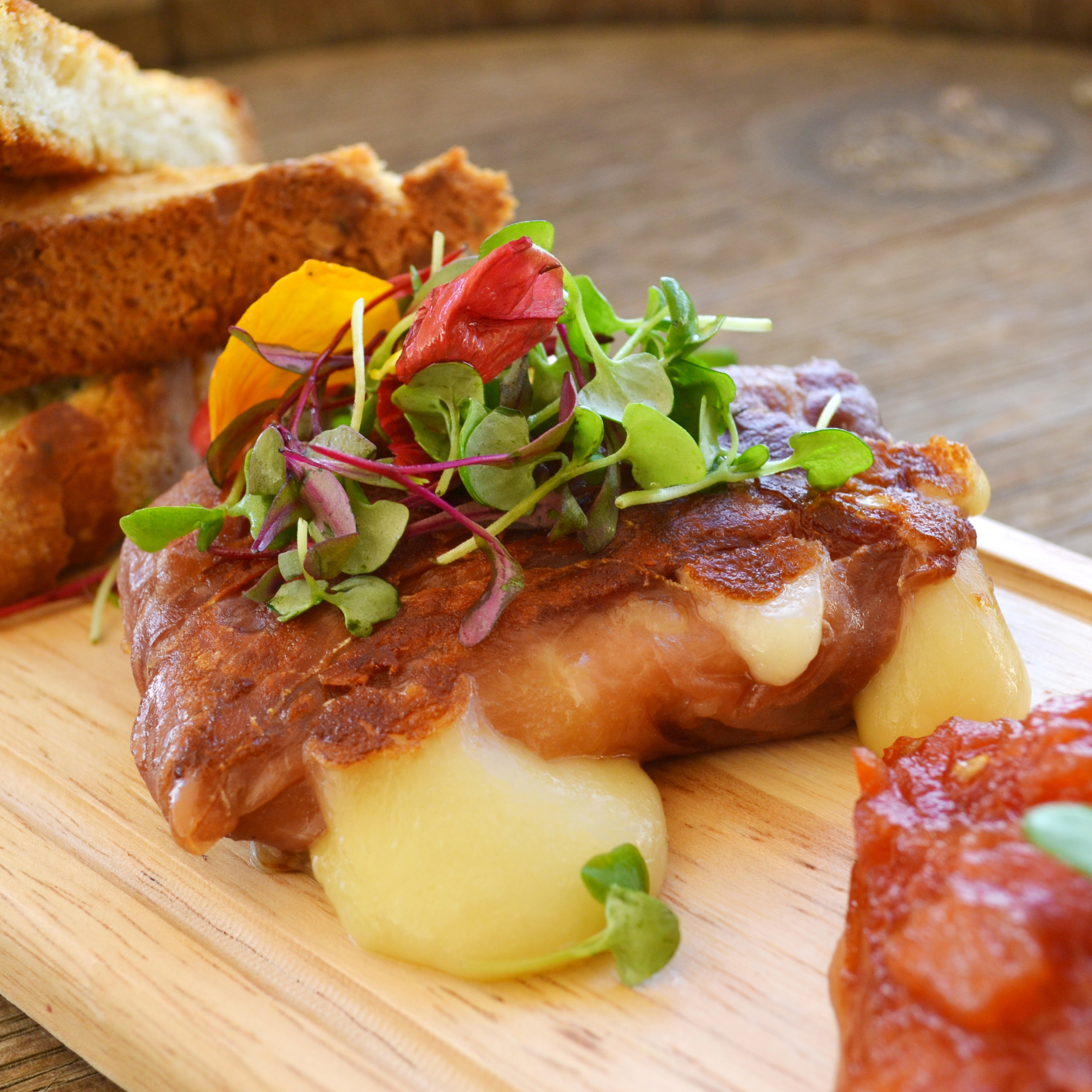 Proscuitto Wrapped Scamorza, frisée Salad, Tomato Jam, Toast Points (3).JPG
