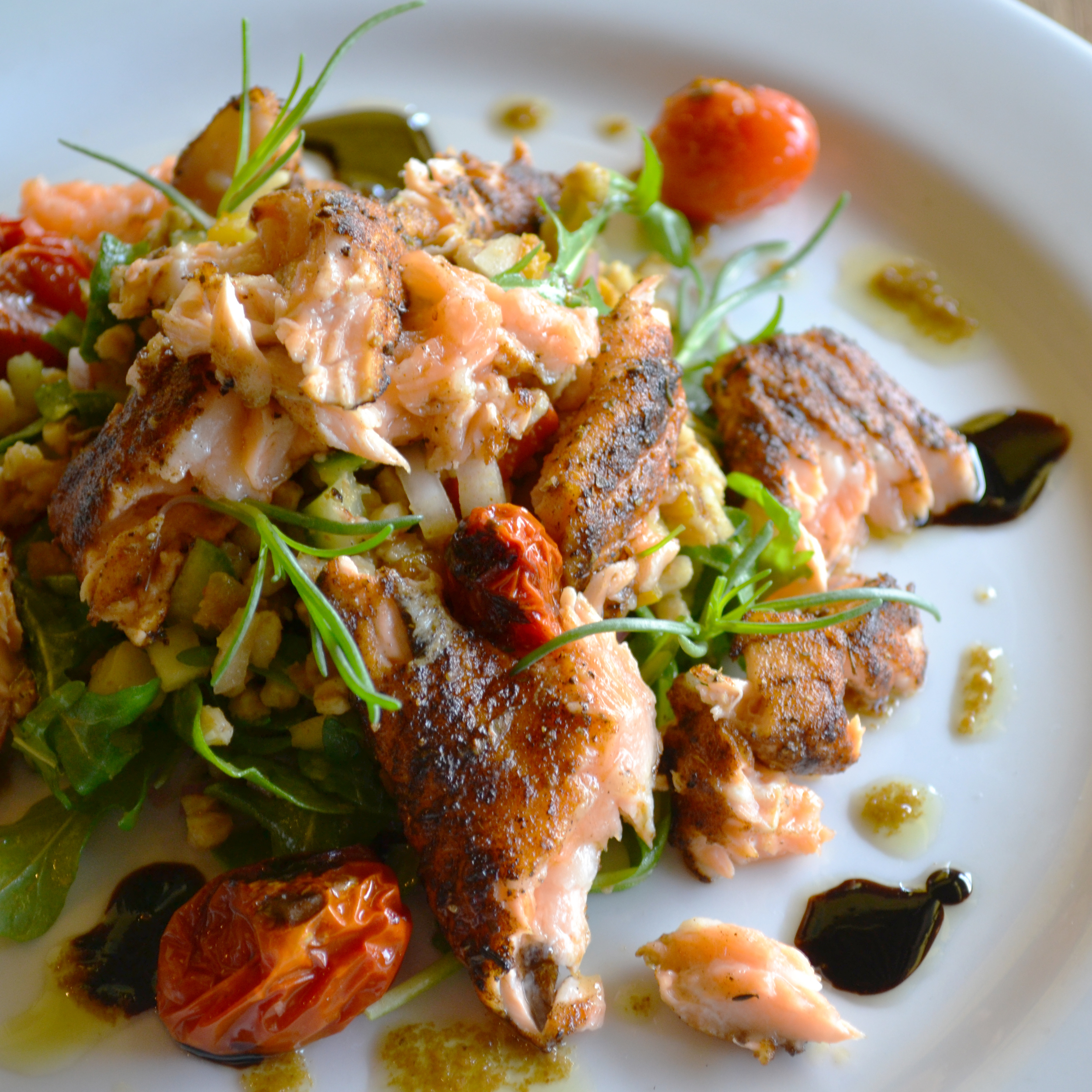Salmon Belly and Faro Salad