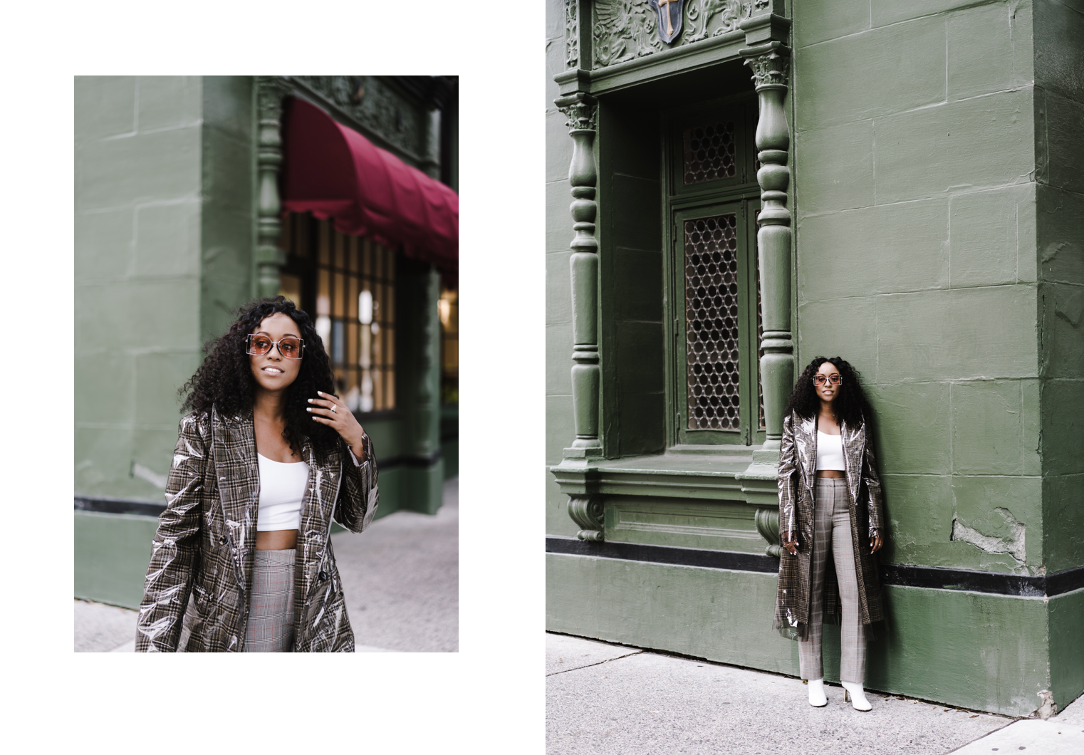 CALVIN KLEIN 205W39NYC  coat (Shop it  here ),  SKIN  cropped bra (Shop it  here ),  STELLA MCCARTNEY  trousers (Shop it  here ),  CALVIN KLEIN 205W39NYC  Bi-colour sunglasses (Shop it  here ),  VETEMENTS  ankle boots (Shop it  here )