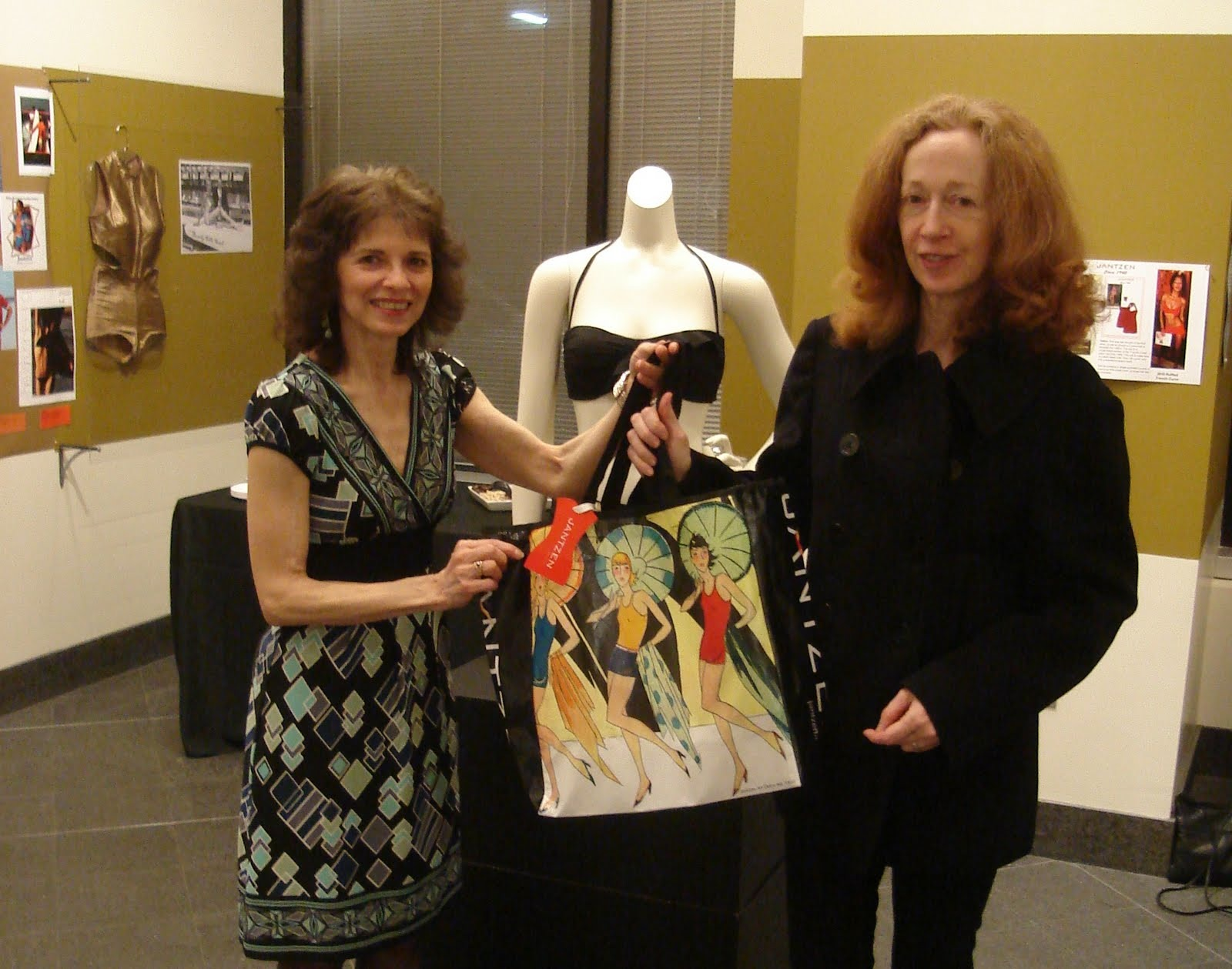 100 Years of Jantzen exhibit co-curators Carol Alhadeff and Annin Barrett at The Art Institute of Portland gallery.