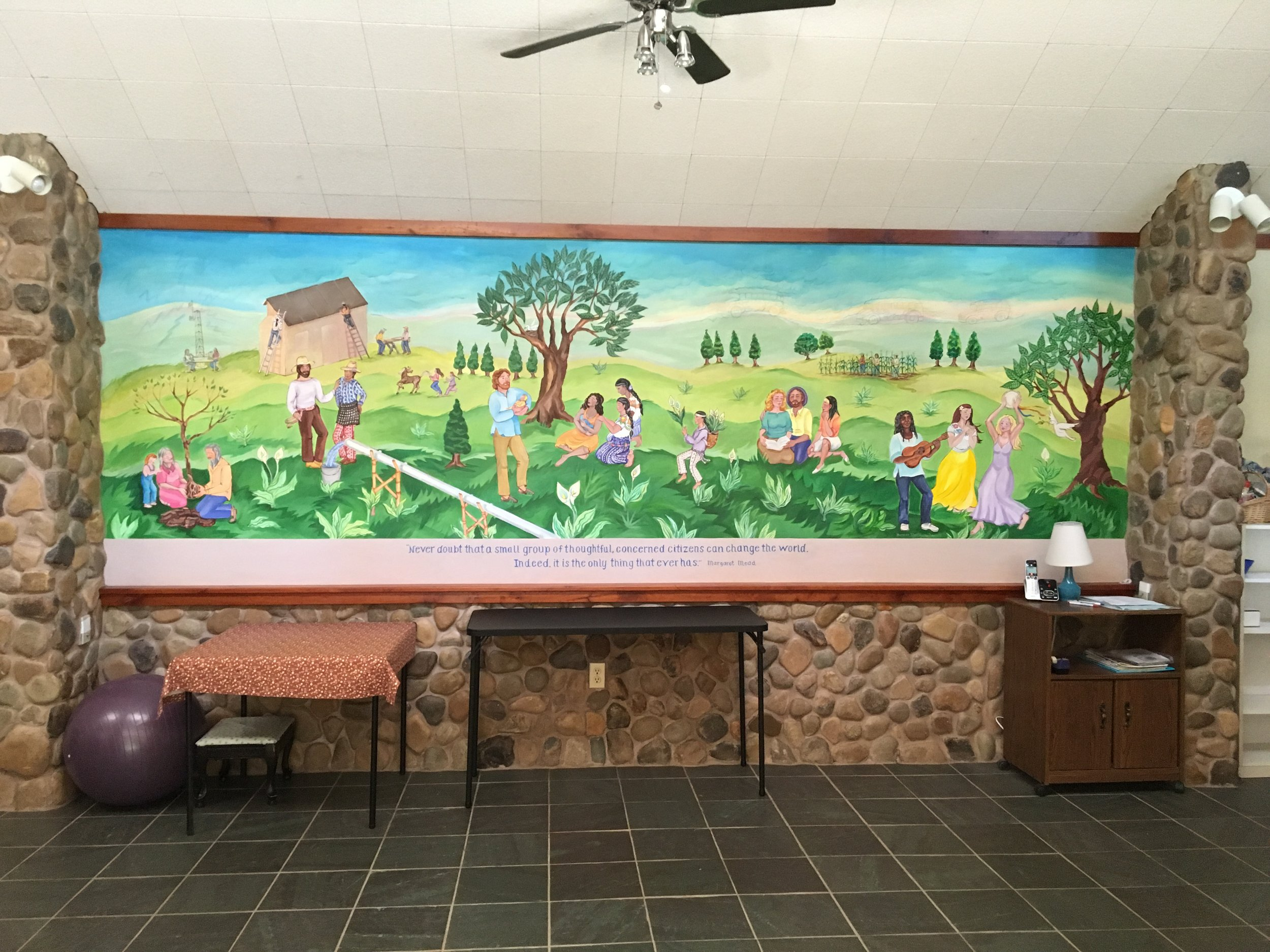 Mural inside one of the birthing houses at The Farm