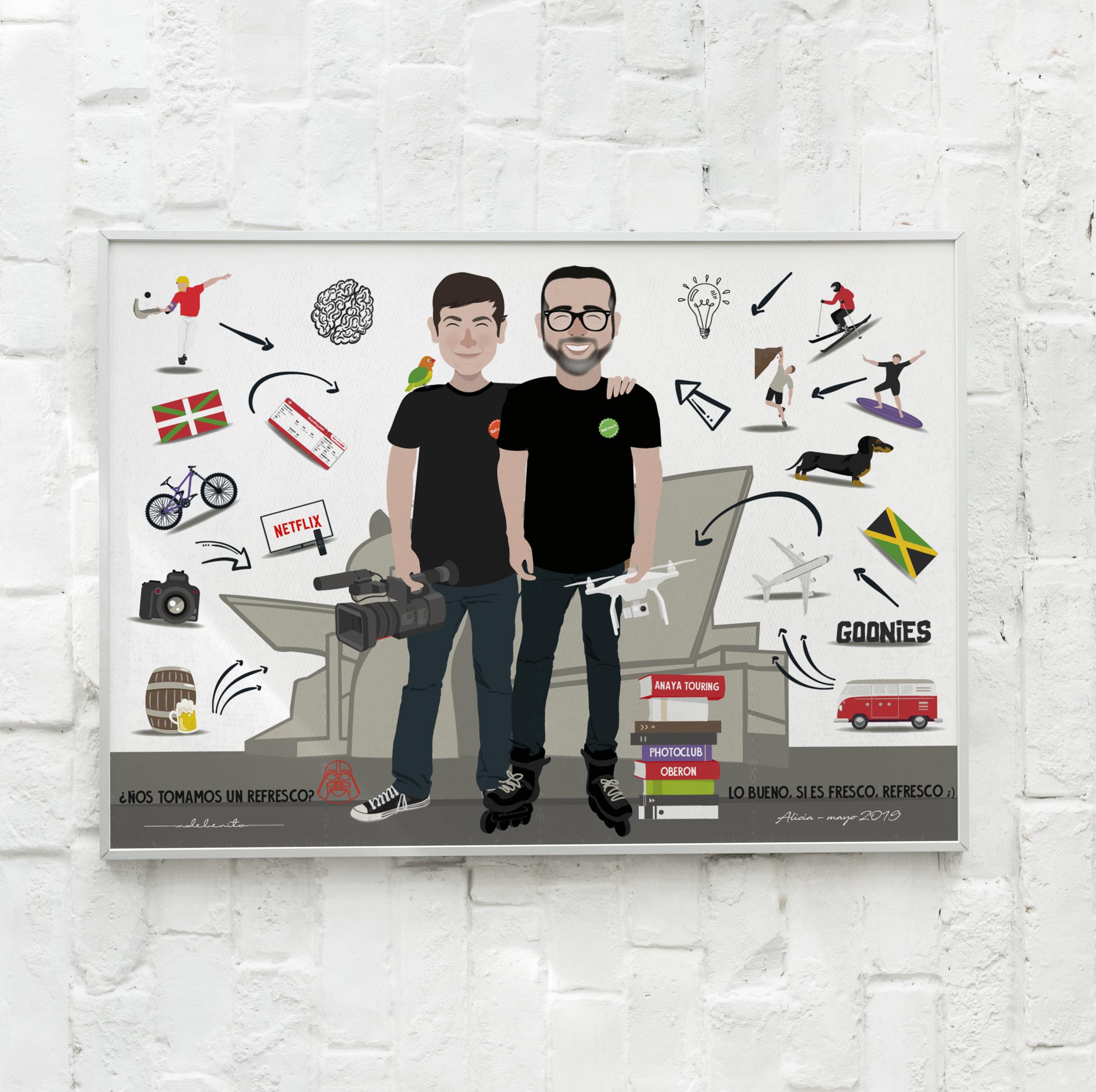 ilustracion-tv-amigos-trabajo-bilbao-mdebenito-personalizado-regalo.jpg