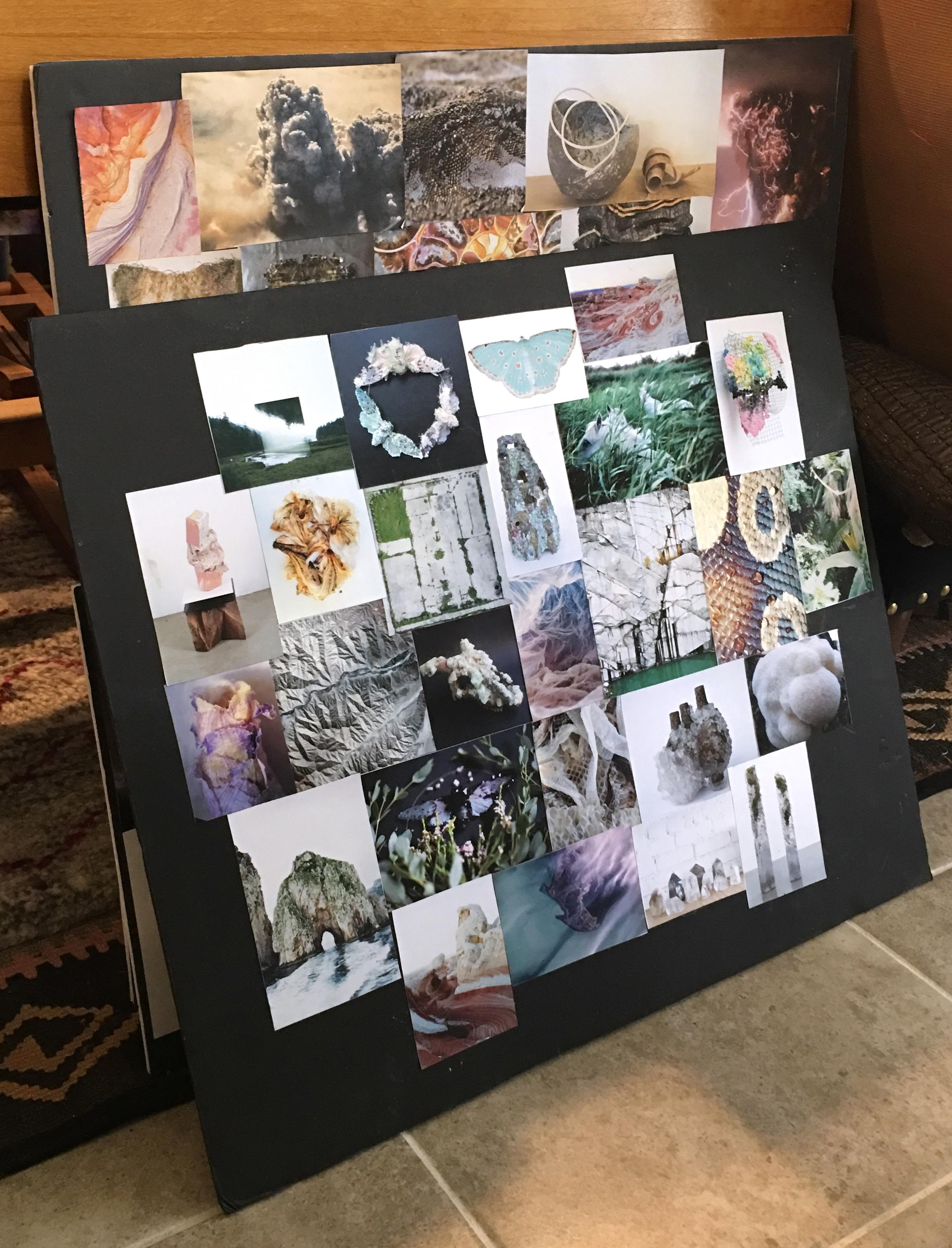 Zipporah Camille Thompson's studio; idea boards.