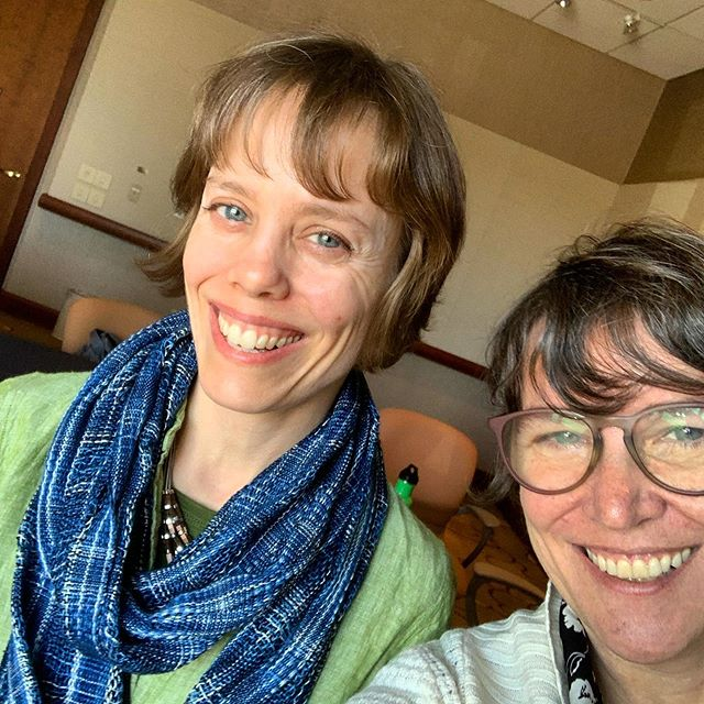 "Crazy busy day at #secac2019 today— sat in to hear Naomi Falk ( @invisiblesculpture ) present as part of the ""Limits on Content: How far can students go in the studio art classroom?"" session (which was super thought provoking) and then had the opportunity to extend the convo with her into our lunch hour as we discussed her life and work. Can't wait to share with you all soon! Mega thanks to @secacart for setting up a dedicated podcasting room to help make it happen 🙏💪🎤🎧🤓🍑👍"