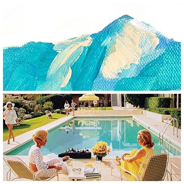 Dreaming about scenes from Palm Springs... and #slimaarons 📷 . . . #weddings #palmsprings #palmtrees #luxurylife #midcenturymodern #pool #mountain #landscape #painting #photography #happyhour