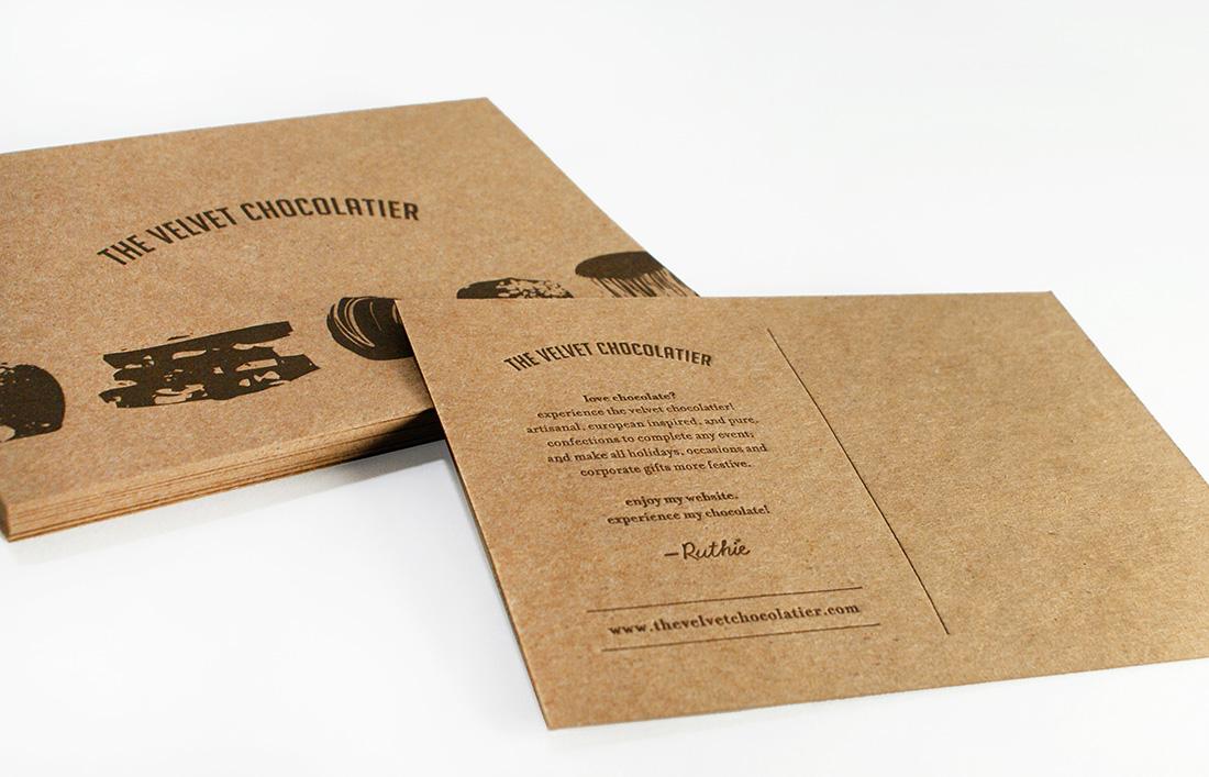 The Velvet Chocolatier: Postcard Design