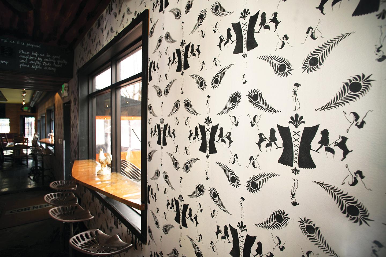 Corner Charcuterie Bar: Wall Stencil Design