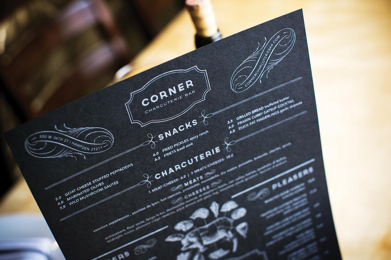 Corner Charcuterie Bar: Menu Design