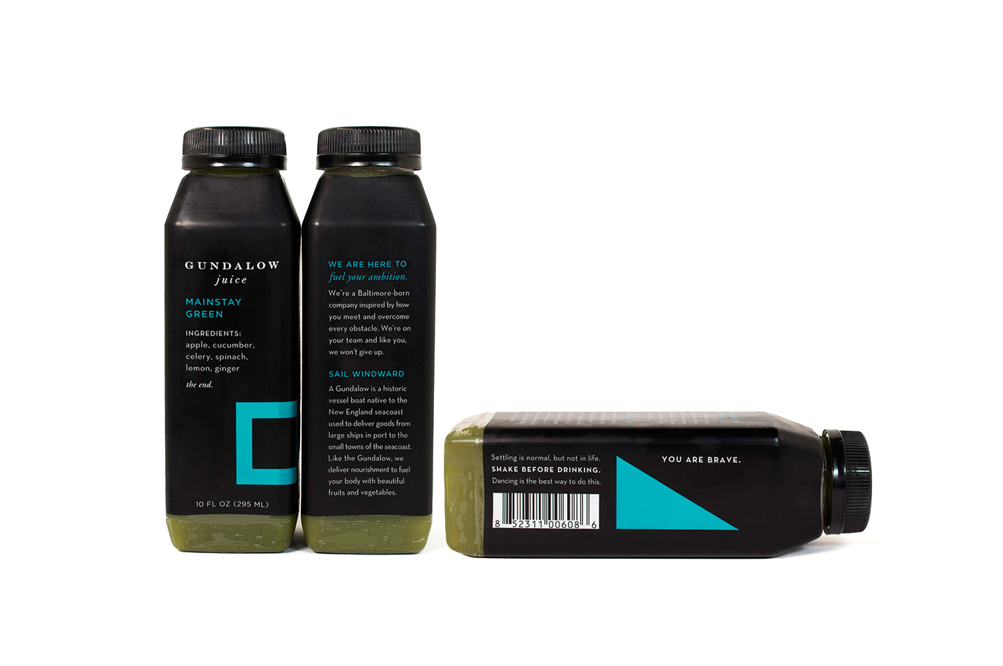 Gundalow Juice: Bottle Package Design for Mainstay Green