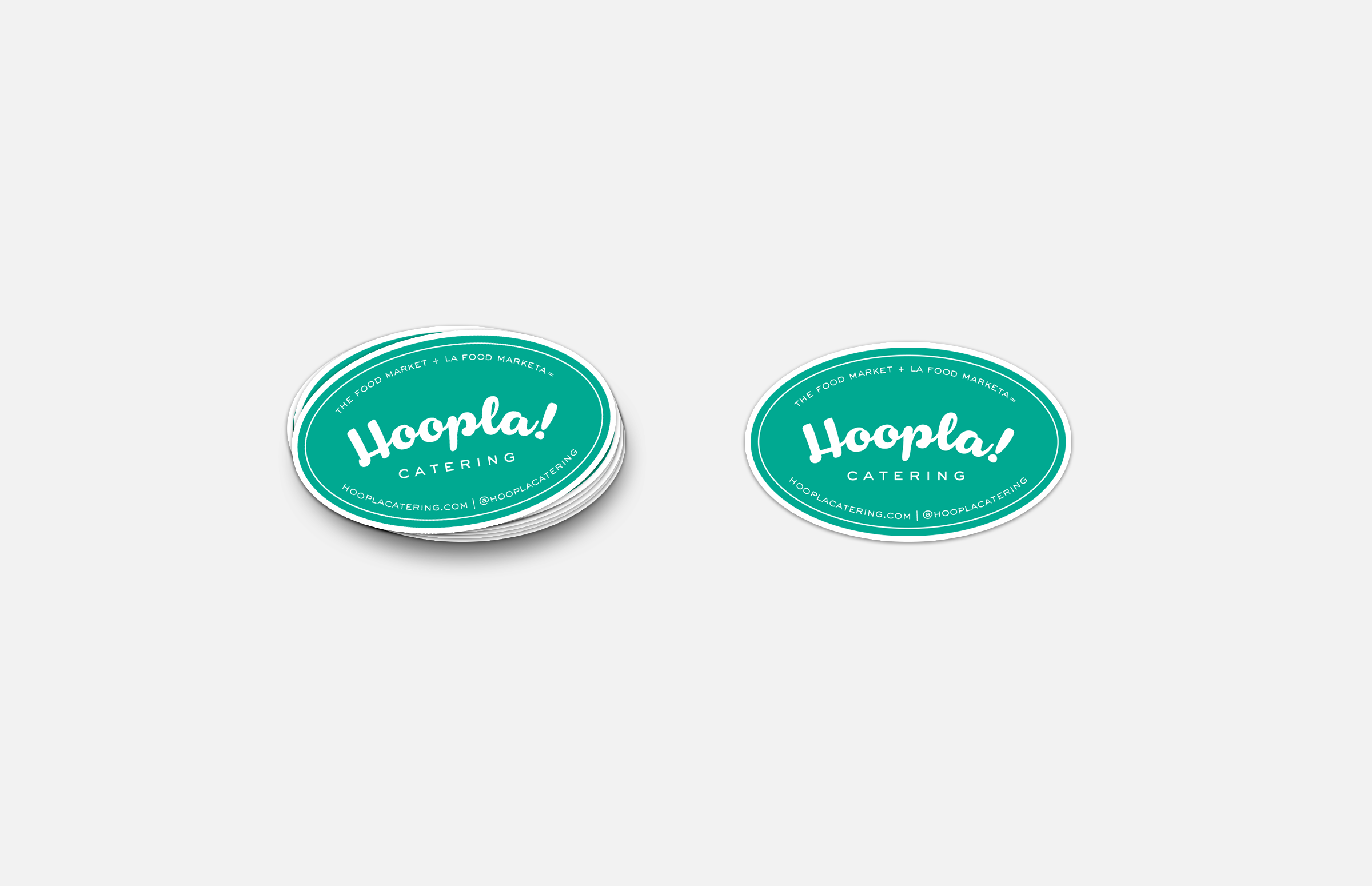 Hoopla! Catering: Oval Sticker Design