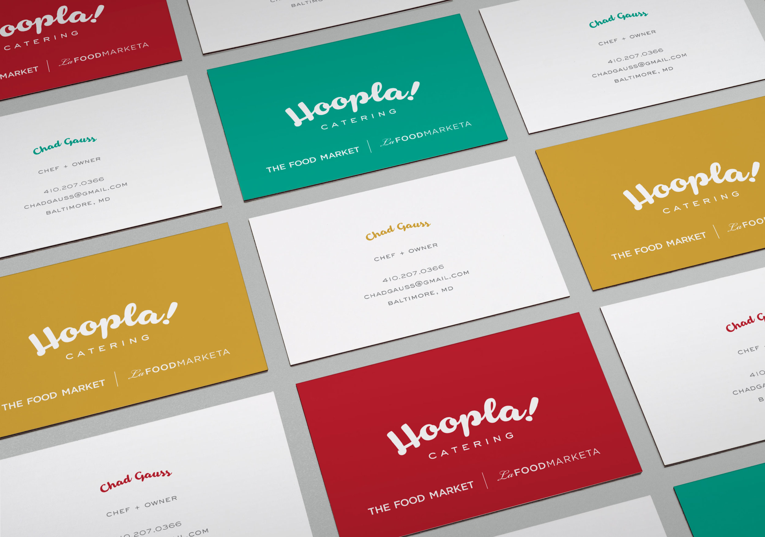 Hoopla! Catering: Business Card Design