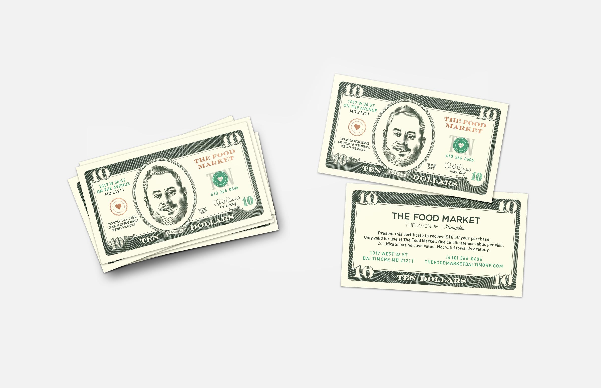 The Food Market: Ten Dollar Gift Certificate Design