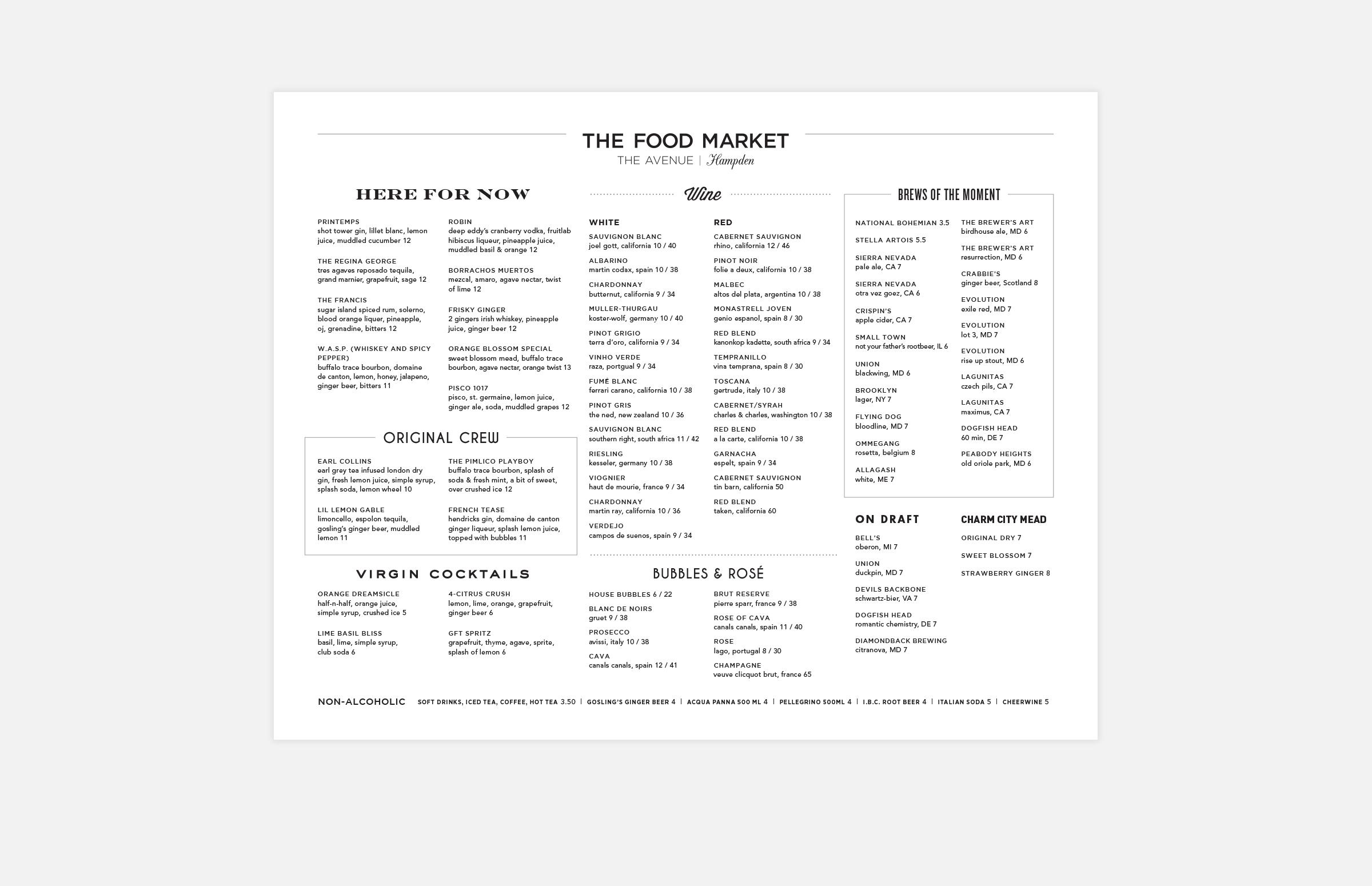 The Food Market: Drinks Menu Design