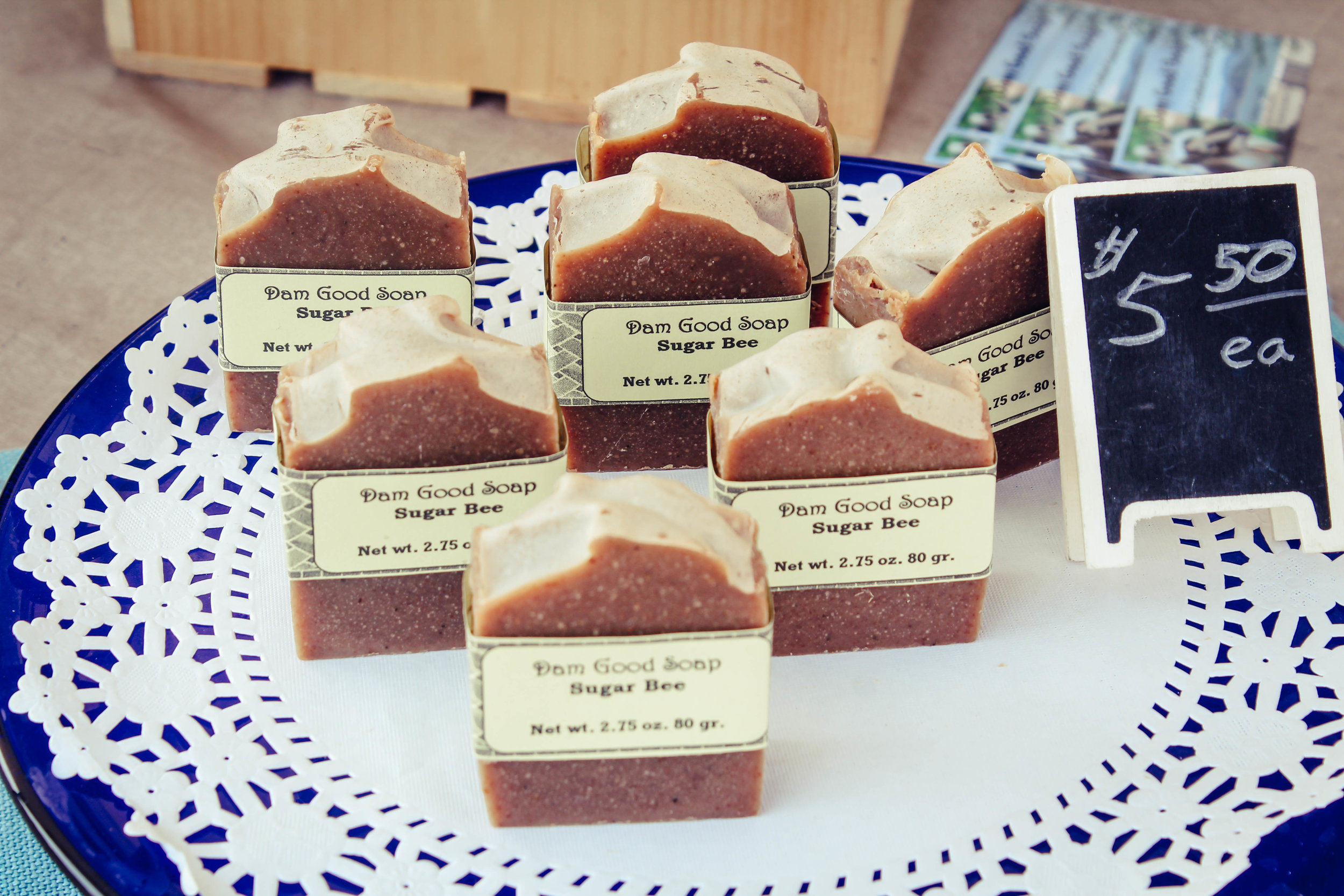 Dam Good Soap selling Goats Milk Soaps at the Shasta Lake Farmers Market at Heritage Roasting Co