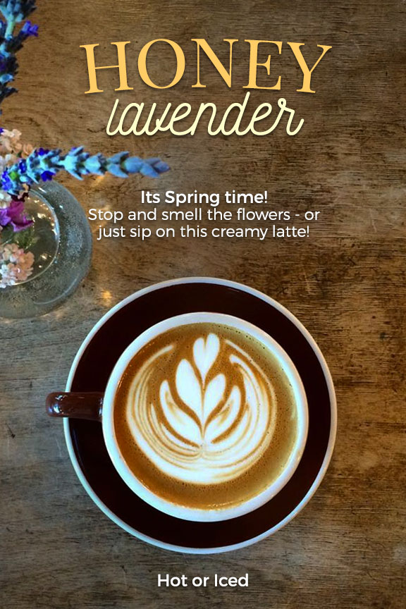 Honey Lavender Lattes are an extremely popular drink here at Heritage Roasting Co, a coffee shop just North of Redding in the heart of Shasta Lake!