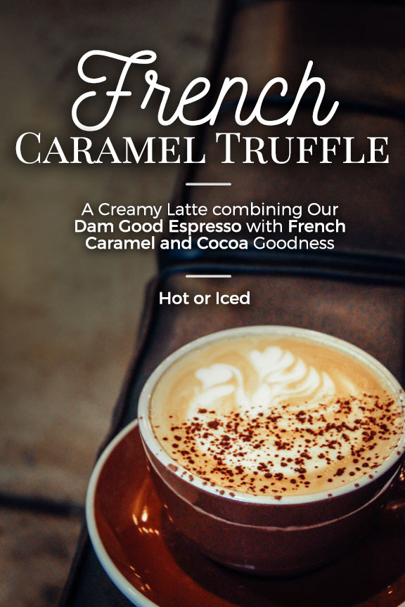 The French Caramel Truffle is a new spring drink special at Heritage Roasting Co, a coffee shop just North of Redding in the heart of Shasta Lake!
