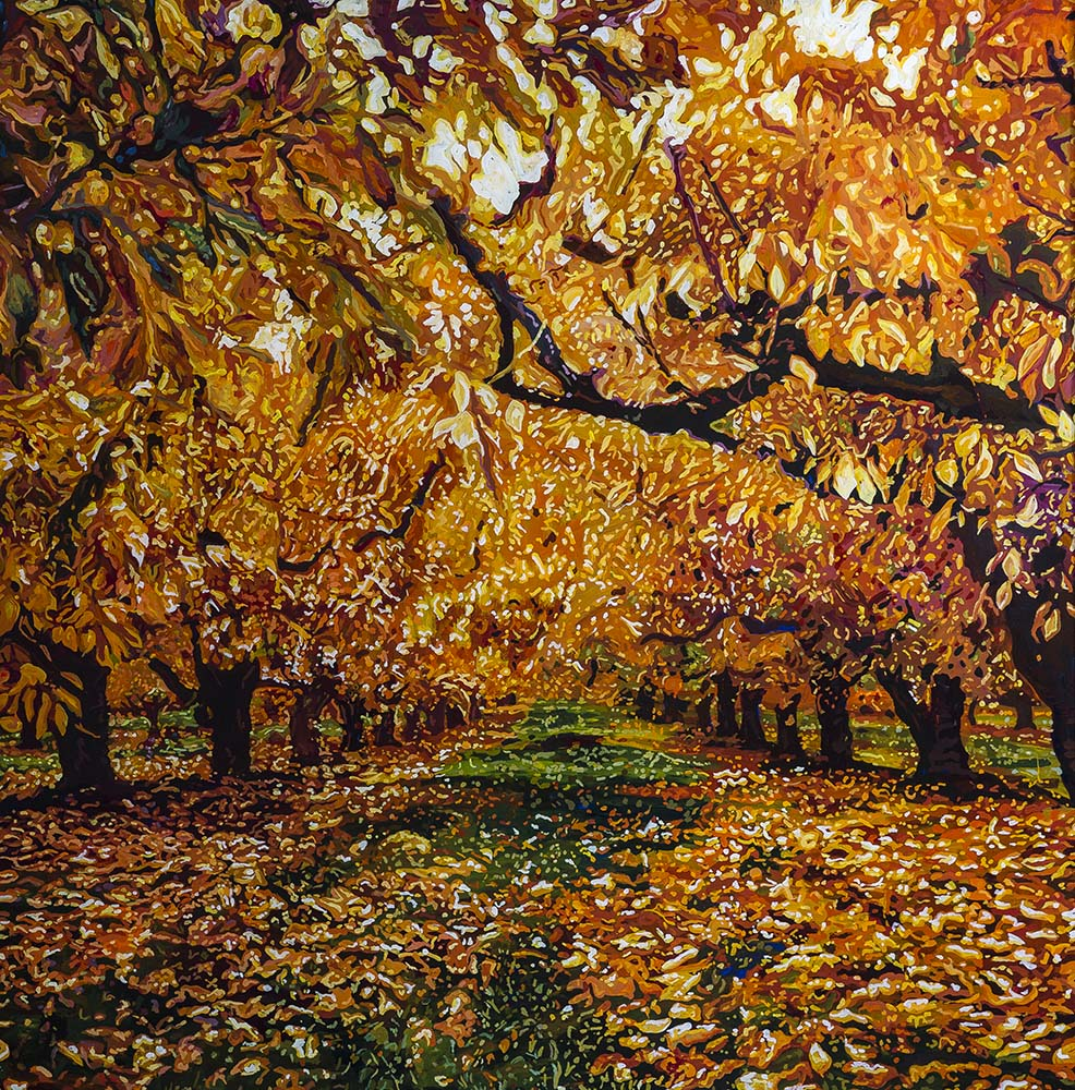 Autumnal Orchard  Acrylic on plexiglass 36 in x 36 in 2015