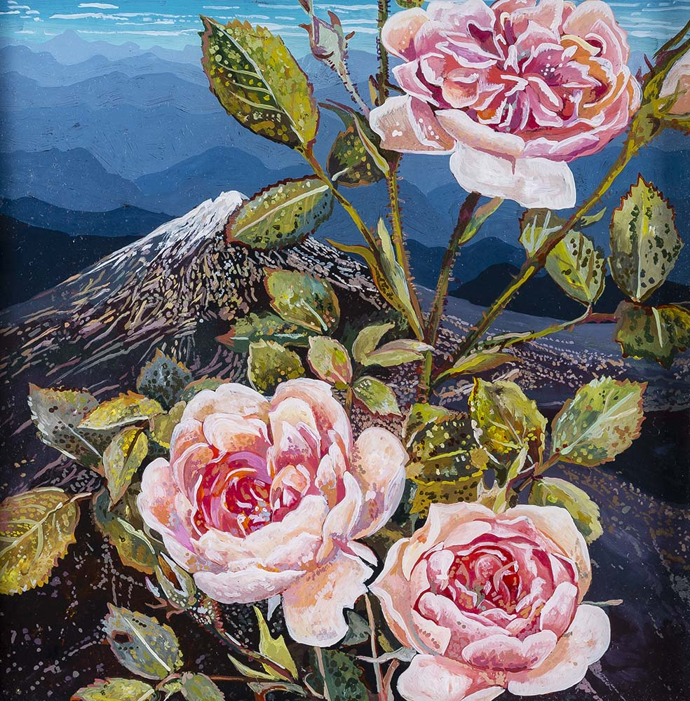 Rocky Mountain Rose  Acrylic on plexiglas 12in x 12in 2015