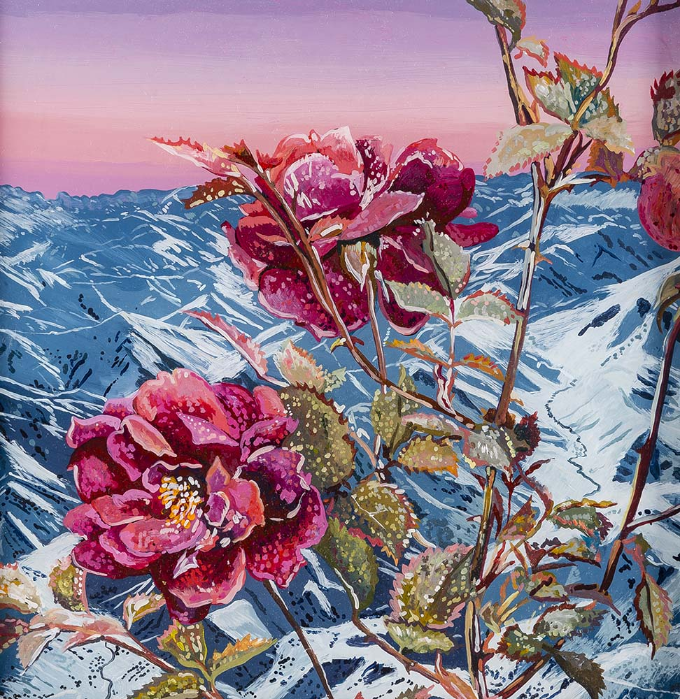 Alpine Rose  Acrylic on plexiglass 12in x 12in 2015