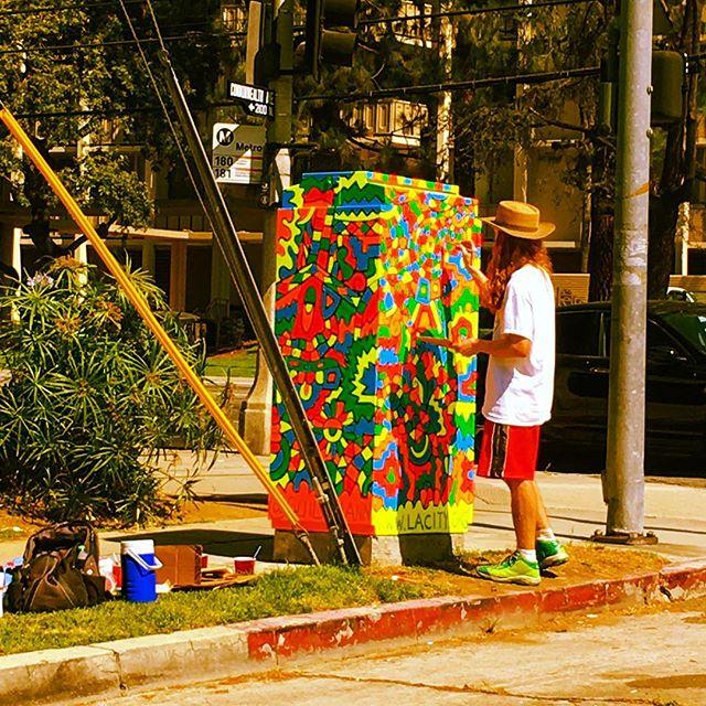 Dude#flouro #signalbox#neighborhood #watch#hand #painting