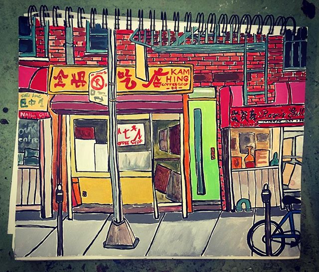 Sketchbook#chinatown #metres#greendoor#fireescape #awninggap#coffeeshop#blankcanvas's