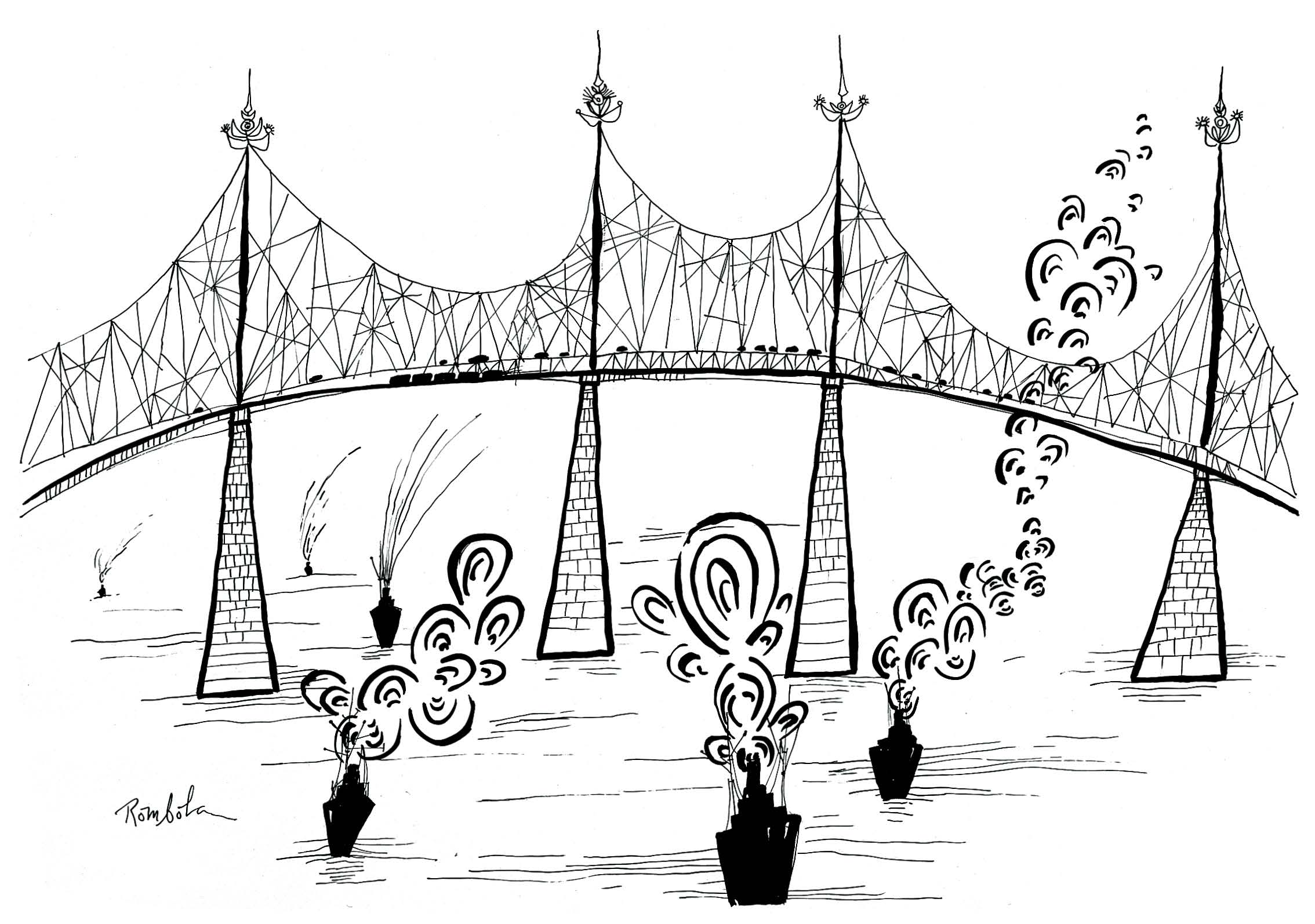 Triborough Bridge   1963 Ink on paper.