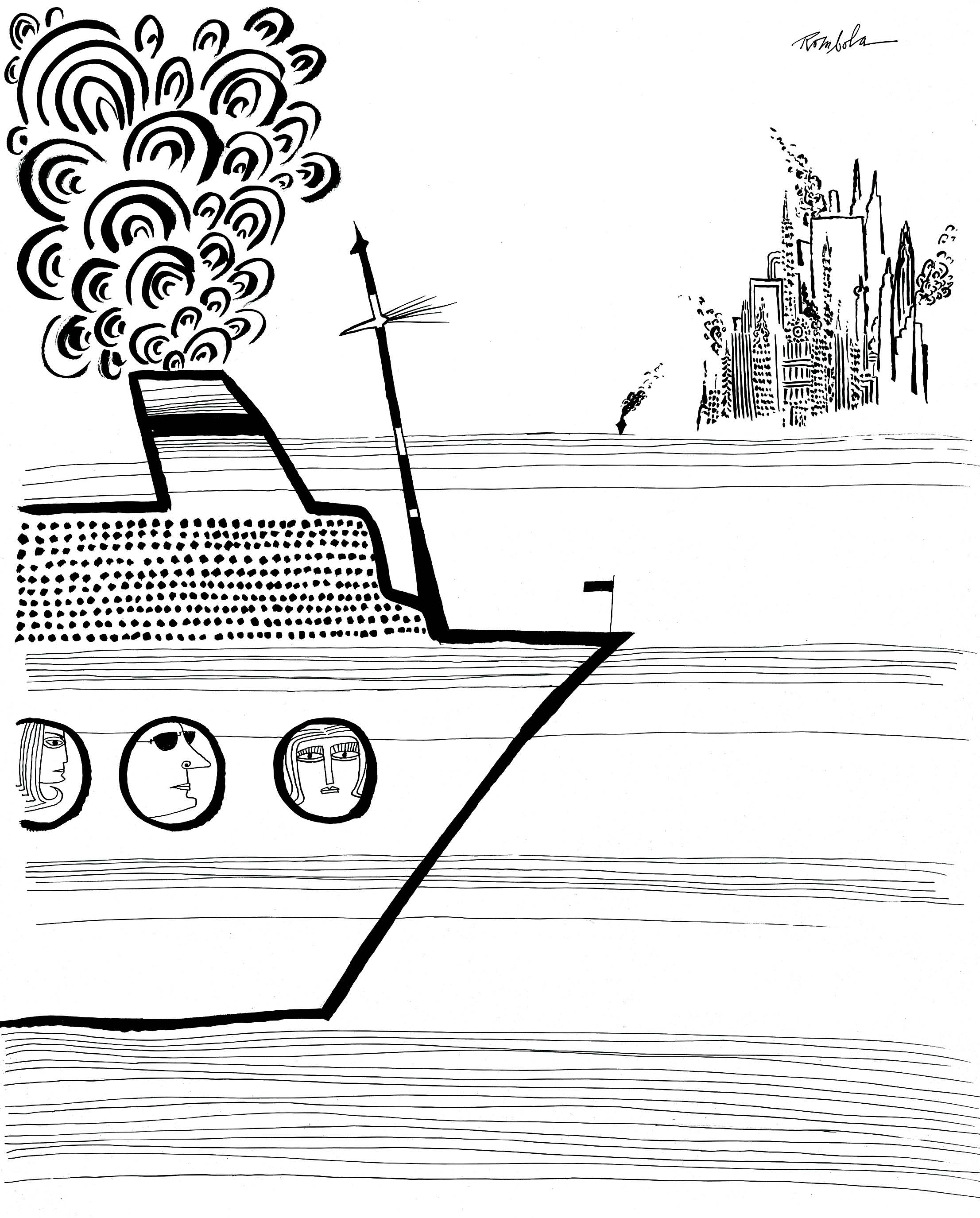 Cruise Ship Arrival   1966 Ink on paper.