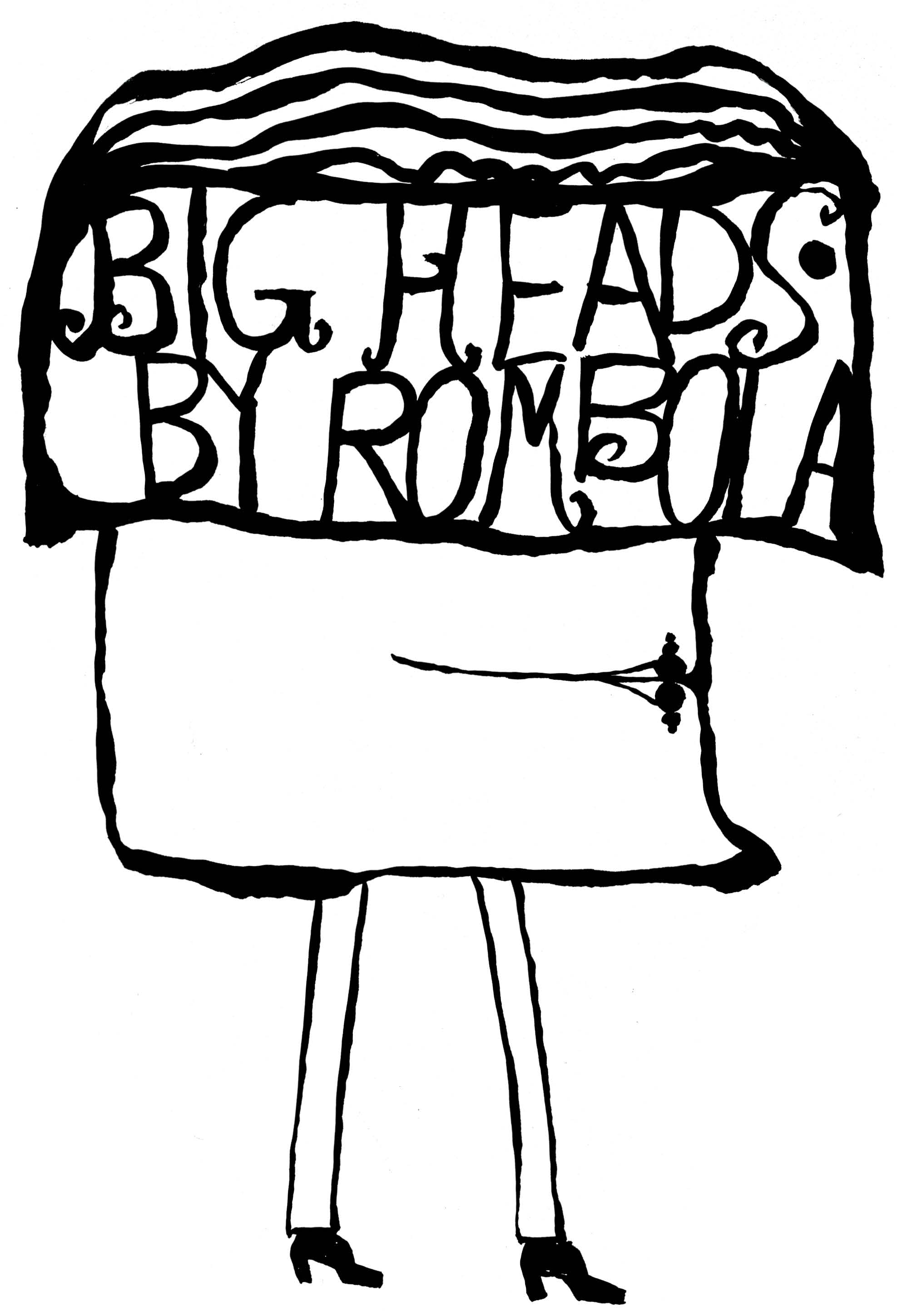 Big Heads by Rombola   Ink on paper 1966