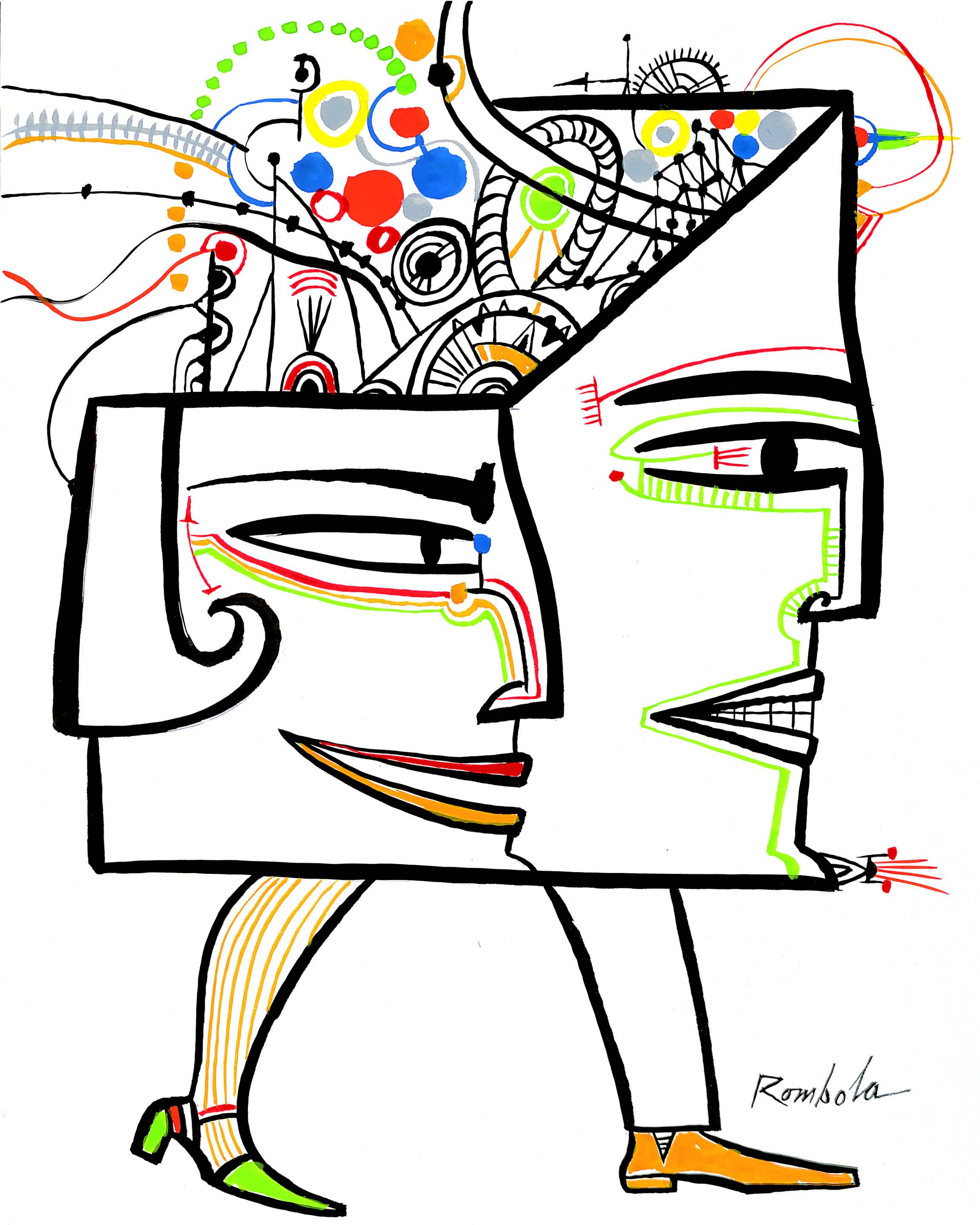 Computered Head   Gouache and ink on paper 1966