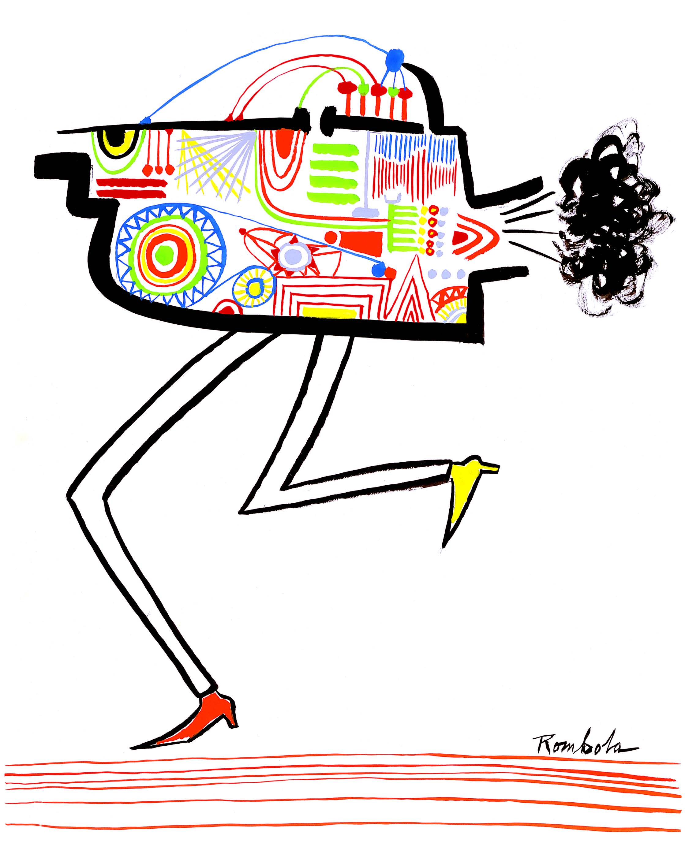 New Yorker Running   Gouache and ink on paper  1966