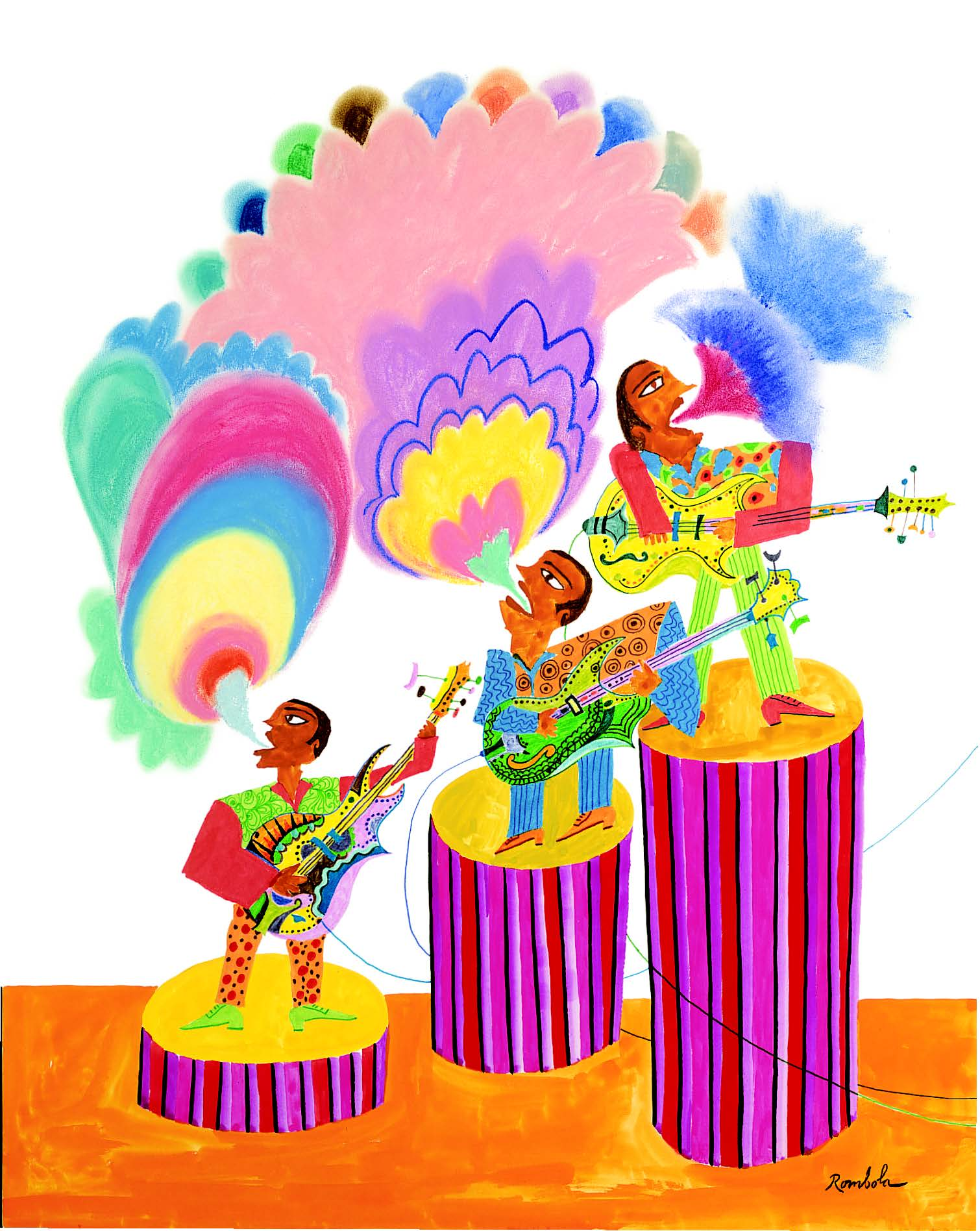 Three Famous Carnival Singers in Contest   Pastel, gouache, and colored pencil on paper 1968