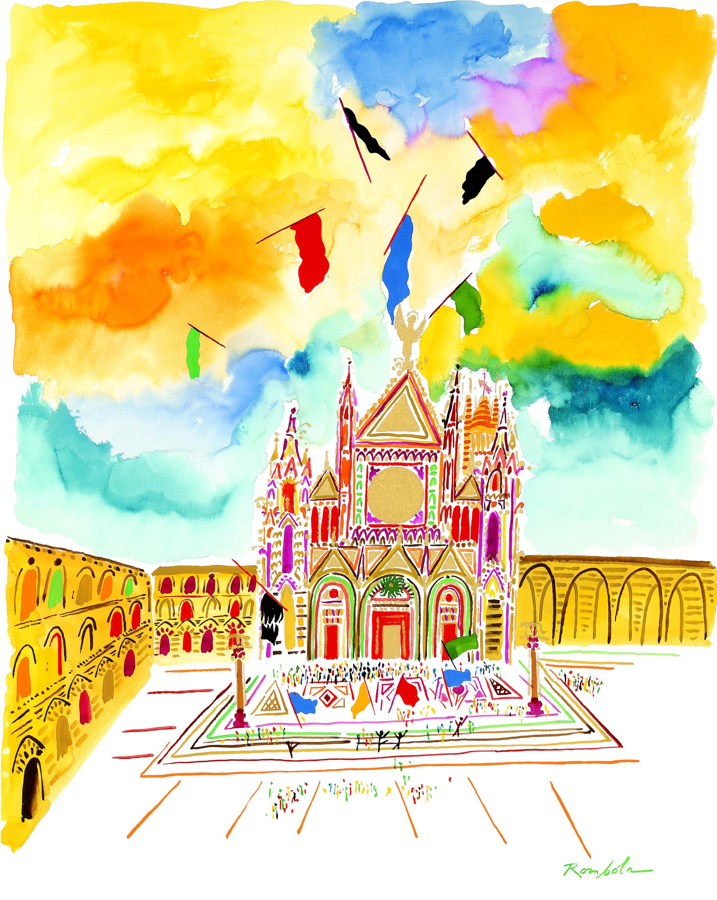 Piazza del Duomo    1991 Gouache on paper. Published in Town & Country, 1991, and Portfolio, 1991