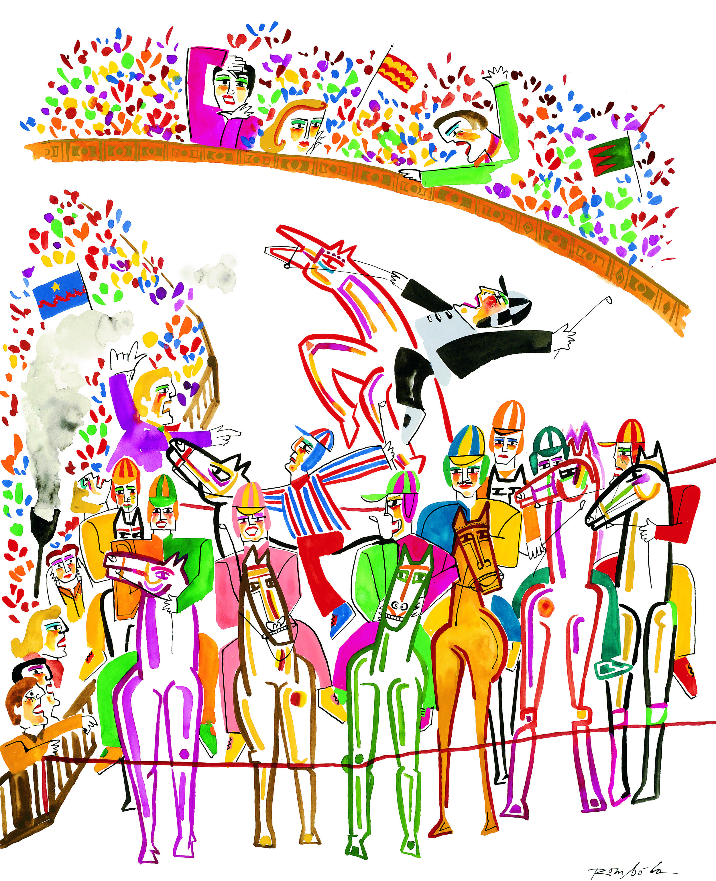 Horses at the Start    1991 Gouache on paper. Published in Town & Country, 1991