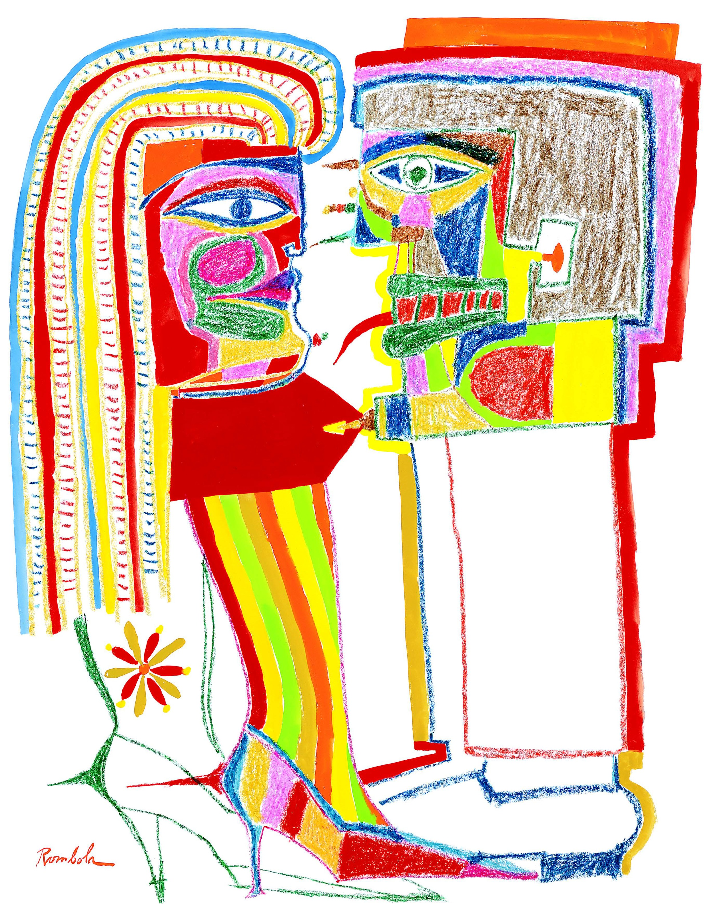 Couple Combating    Crayon and gouache on paper 1967