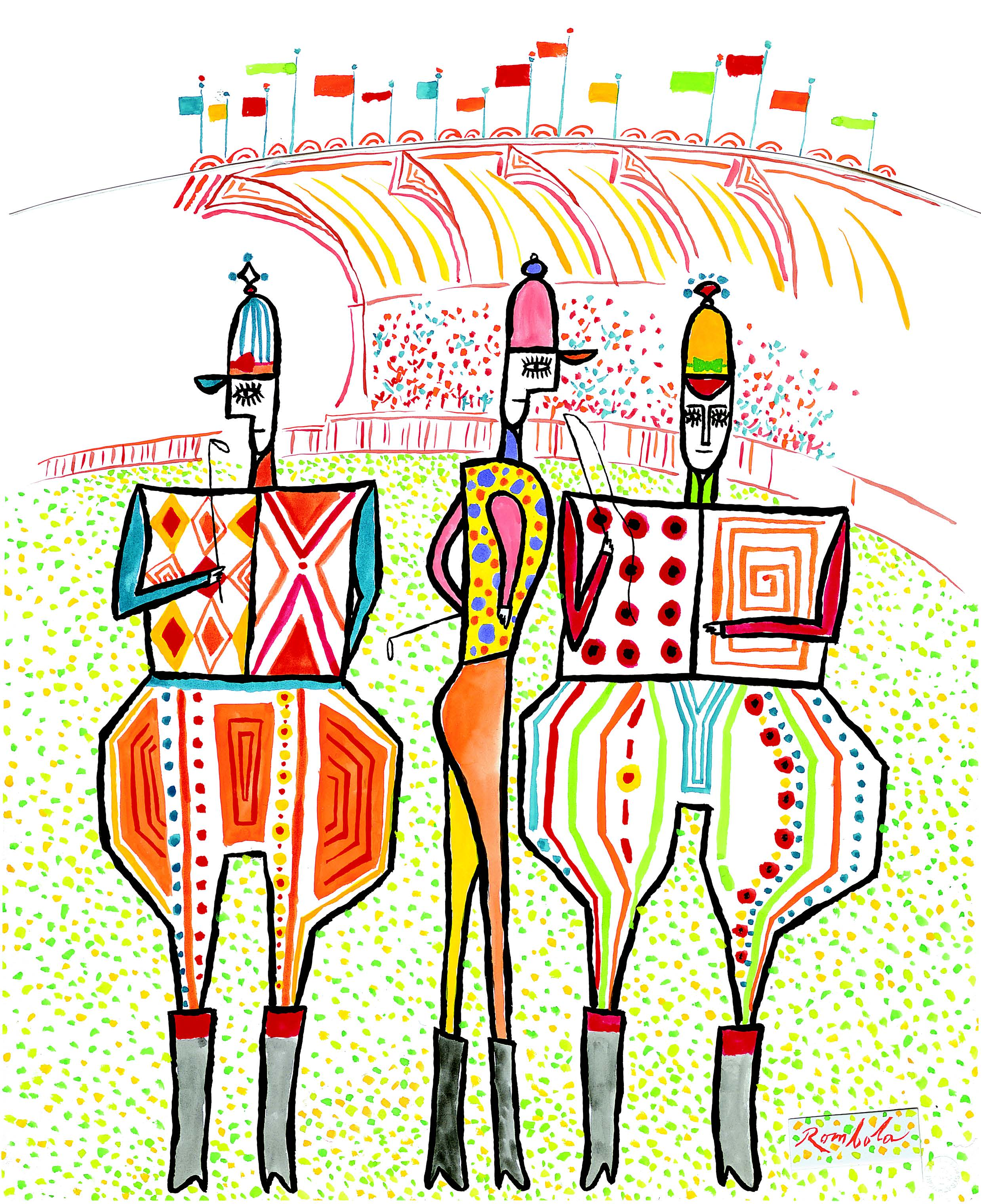 The Three Jockeys    1960 Gouache on paper