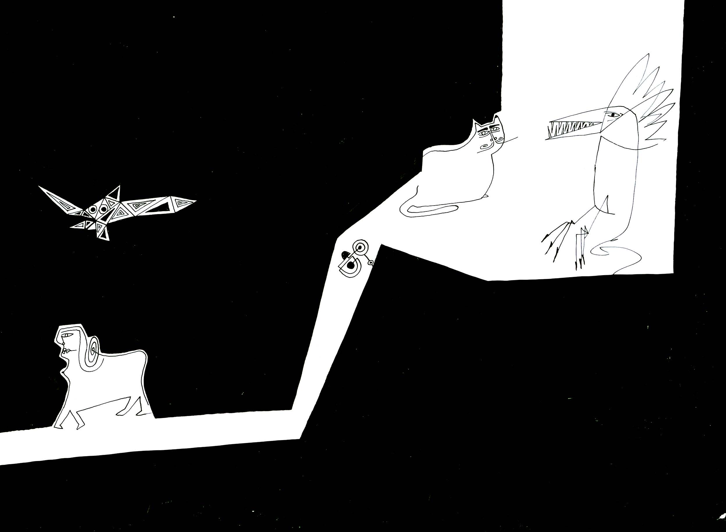 Animals Exploring    India ink on paper 1968