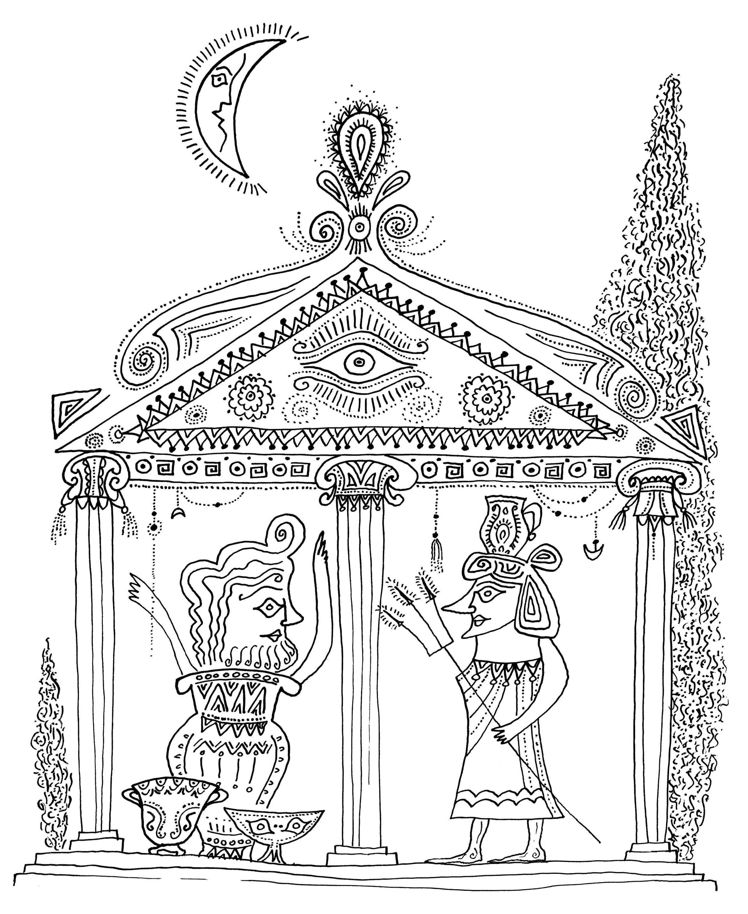 The Temple of the Gods    Ink on paper 1963