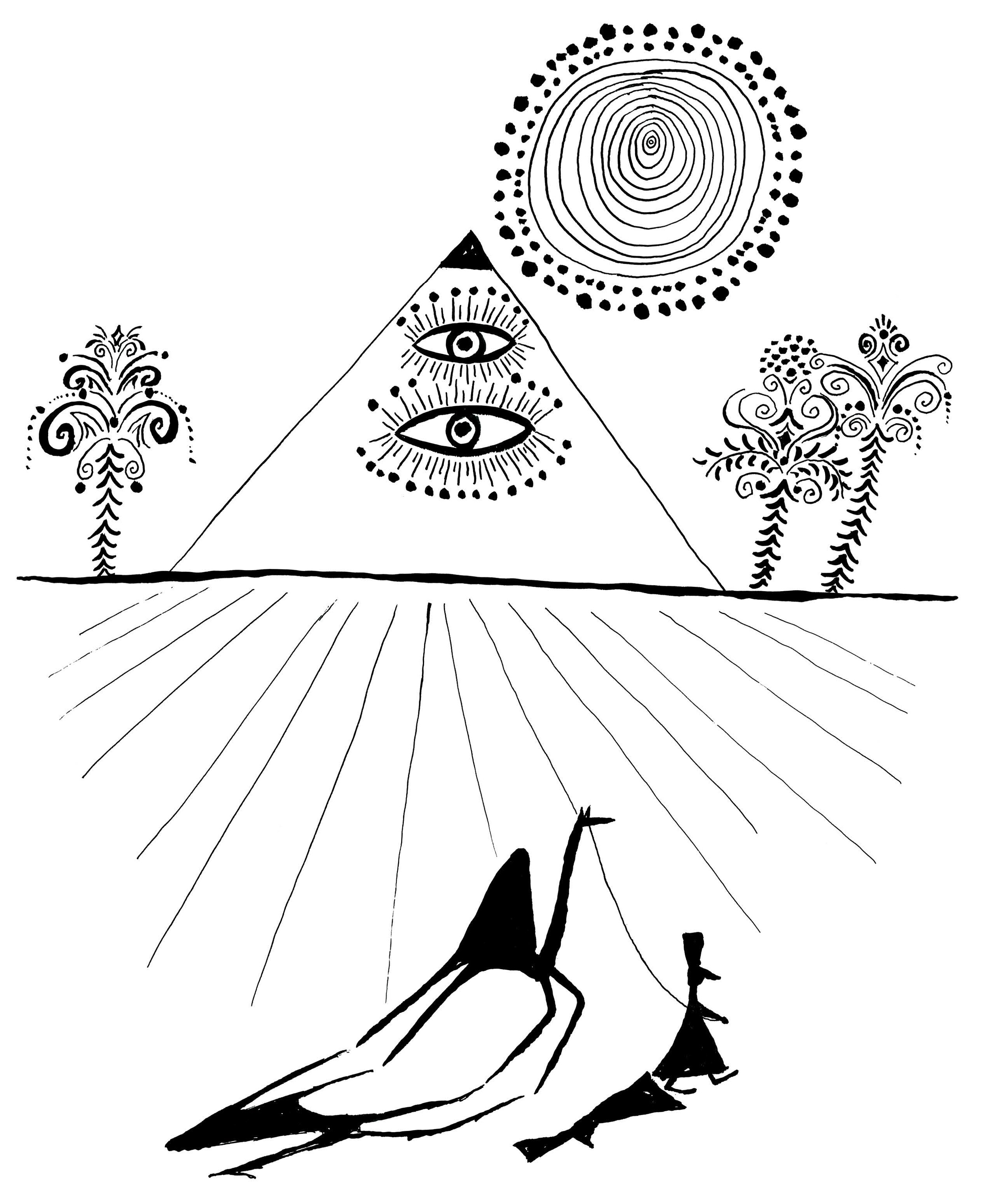 Pyramid with Eyes    Ink on paper 1963