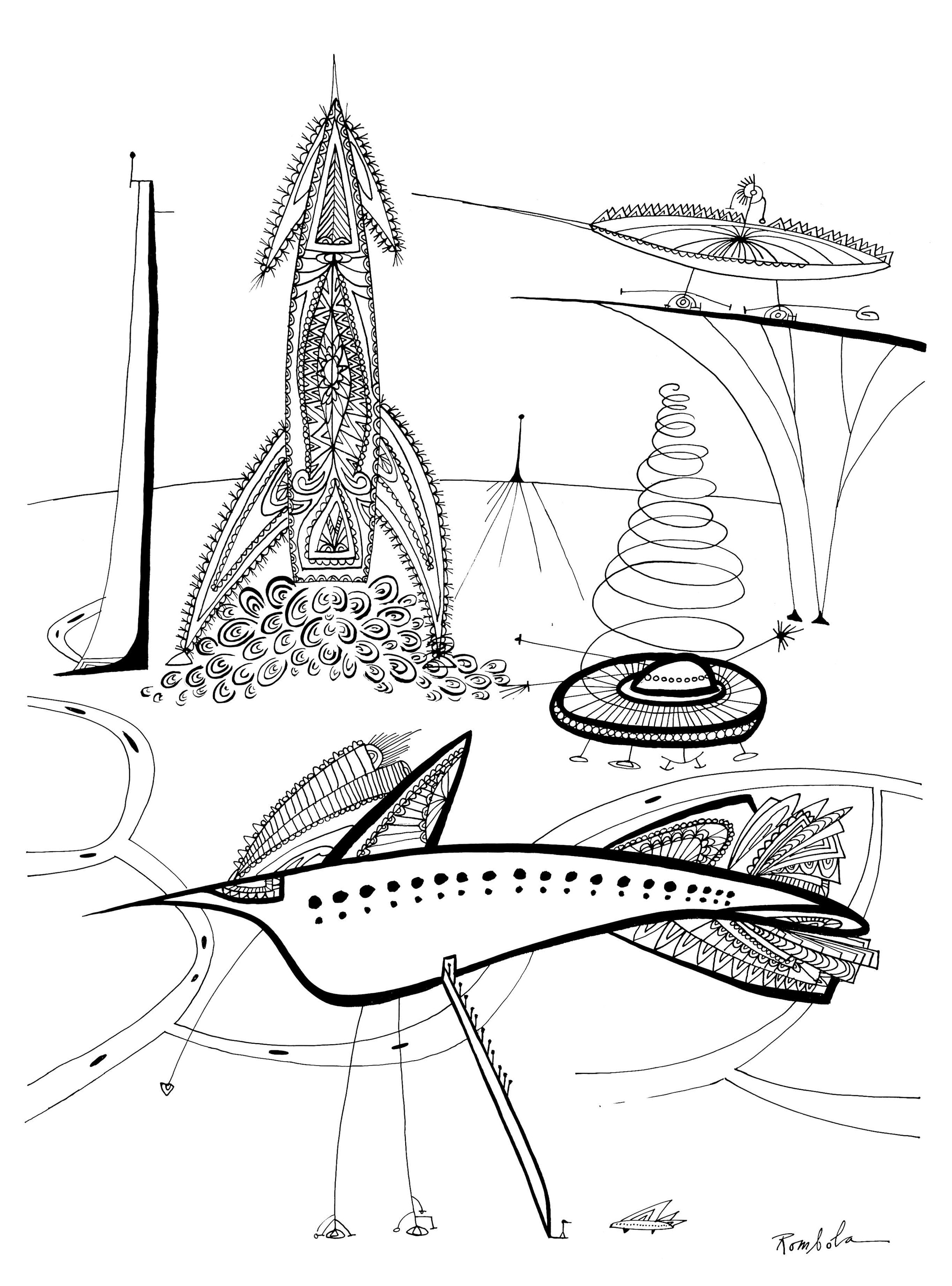 Outer Space Airport   Ink on paper  1967