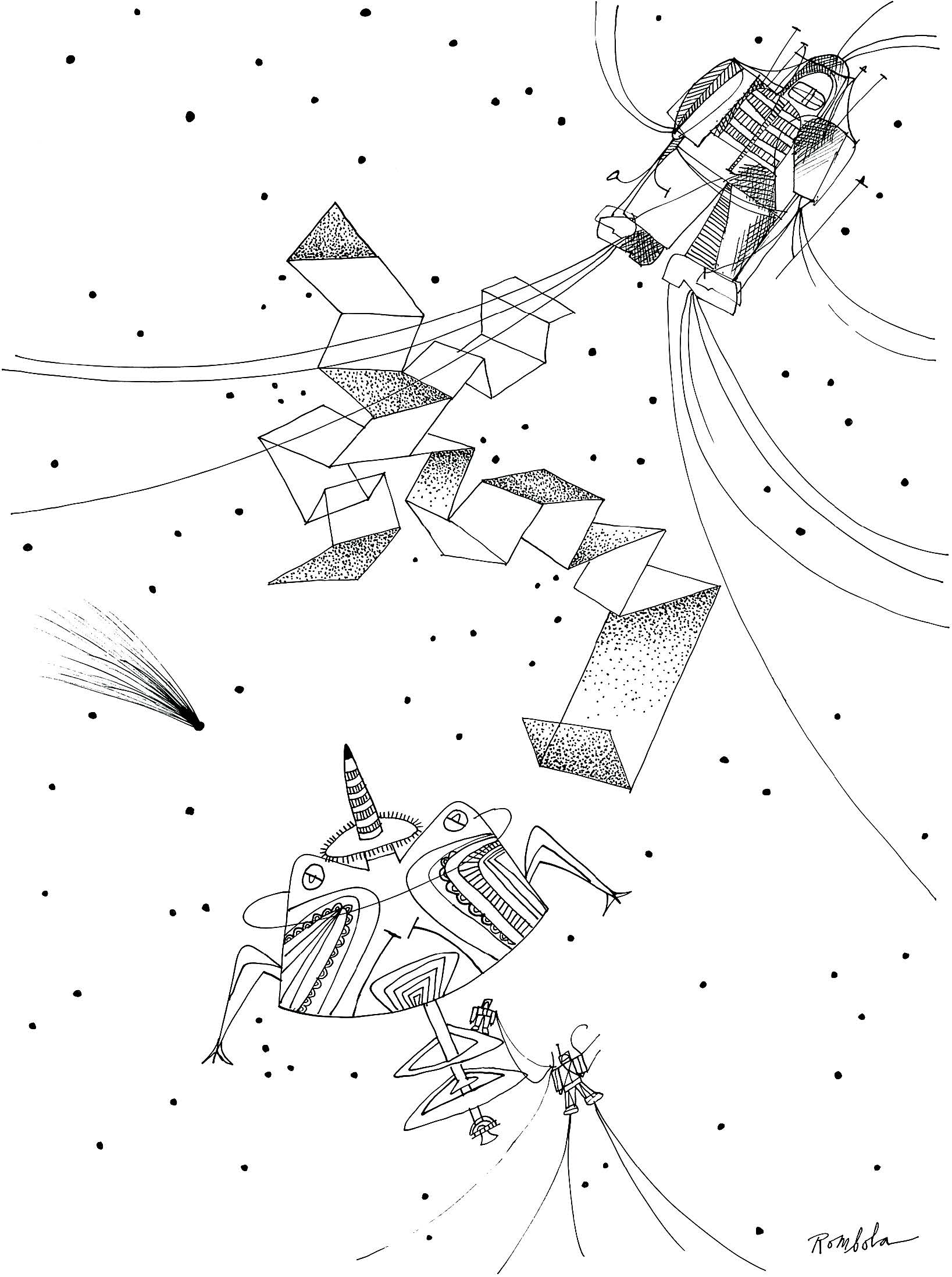 Spaceman in Outer Space    Ink on paper 1967