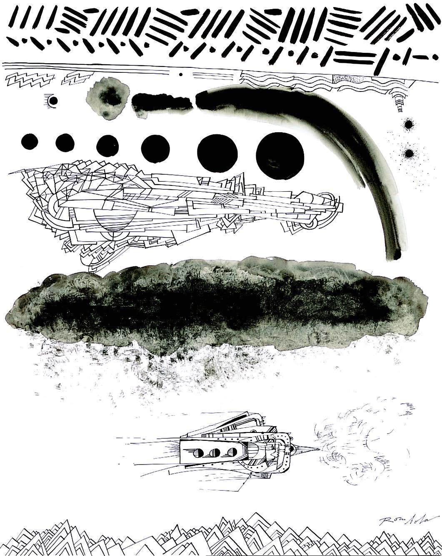 Exploring Spaceship    Ink on paper 1967