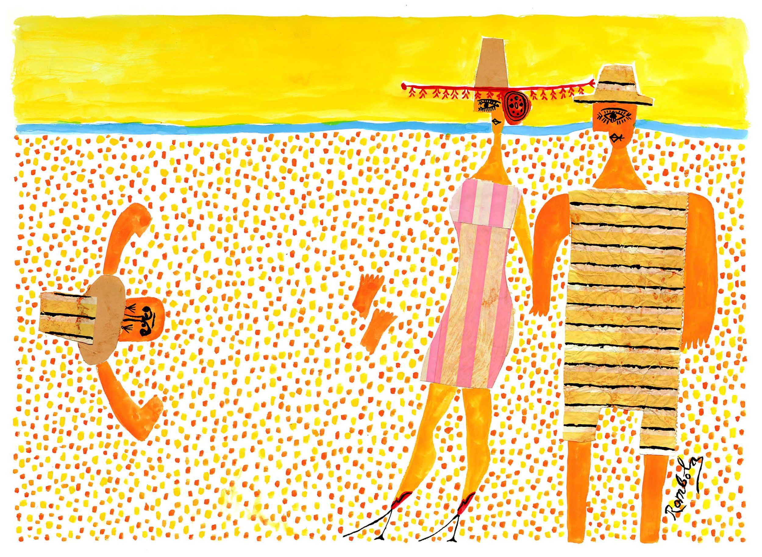 Beach Lovers    Gouache and collage on paper 1960